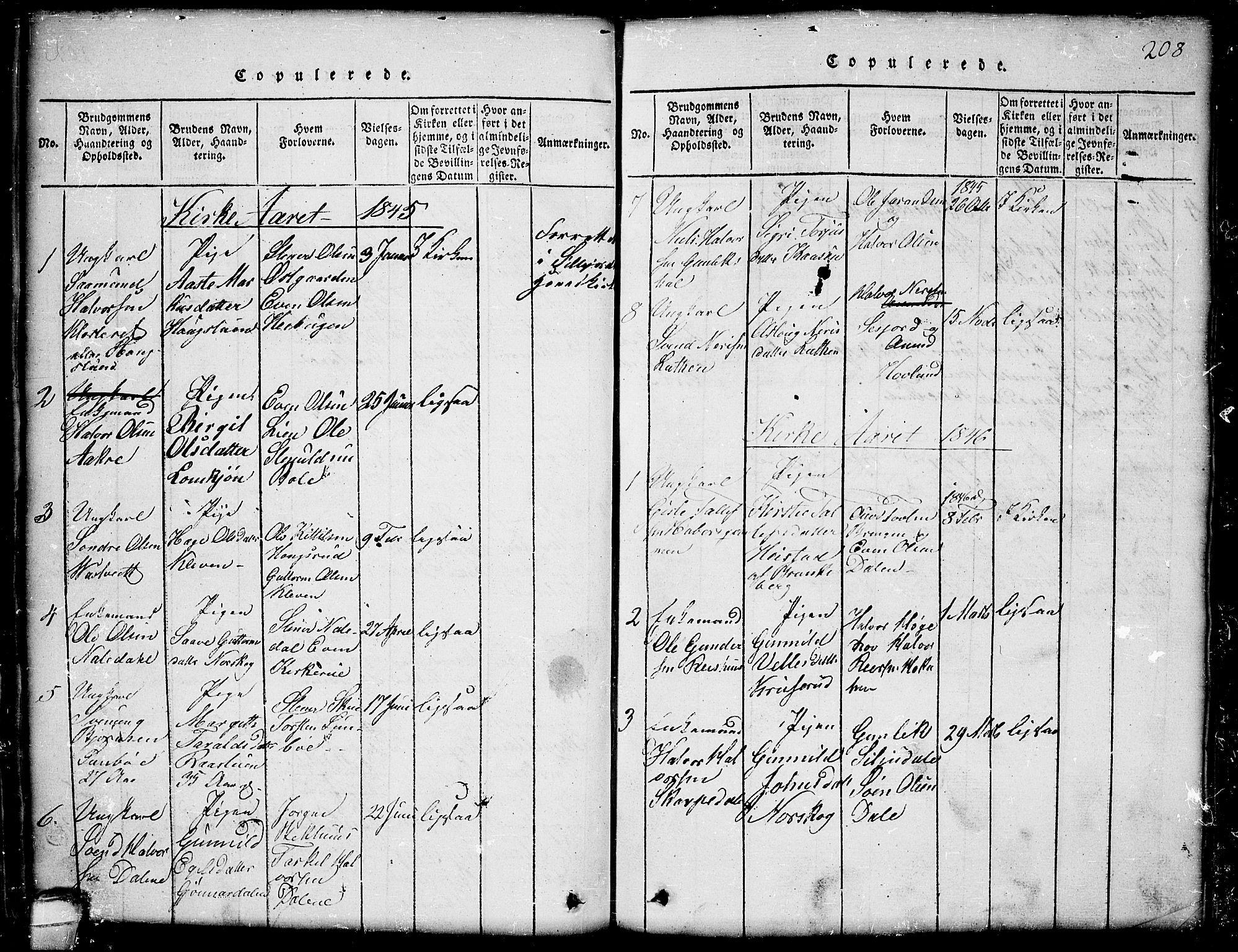 SAKO, Seljord kirkebøker, G/Gb/L0002: Klokkerbok nr. II 2, 1815-1854, s. 208