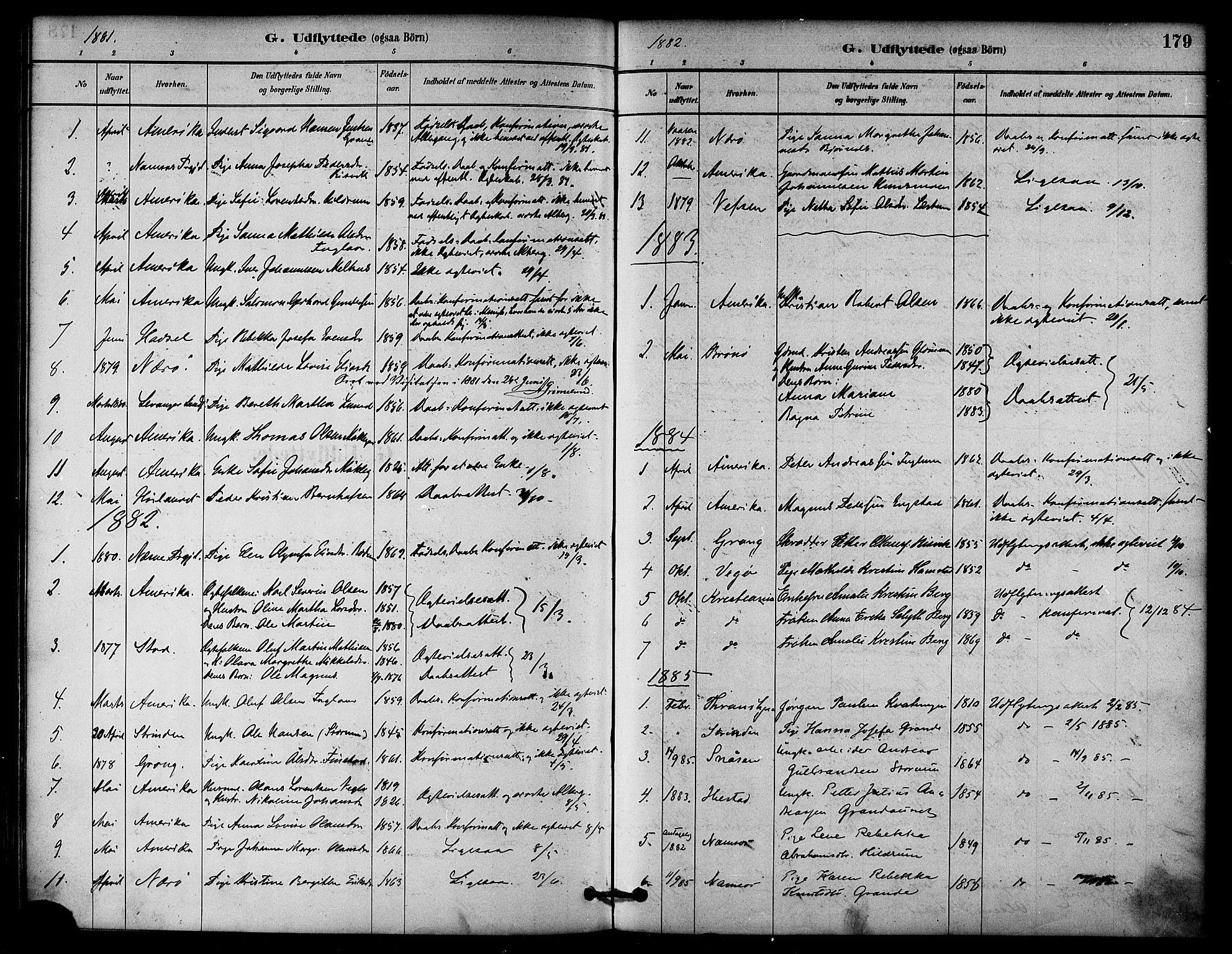SAT, Ministerialprotokoller, klokkerbøker og fødselsregistre - Nord-Trøndelag, 764/L0555: Ministerialbok nr. 764A10, 1881-1896, s. 179