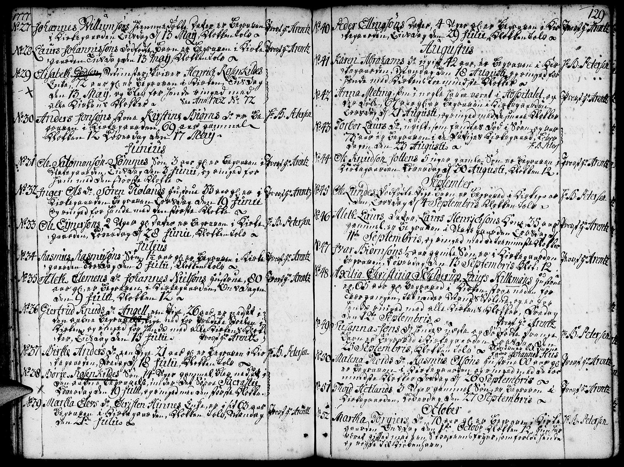 SAST, Domkirken sokneprestkontor, 30/30BA/L0005: Ministerialbok nr. A 5, 1744-1788, s. 129