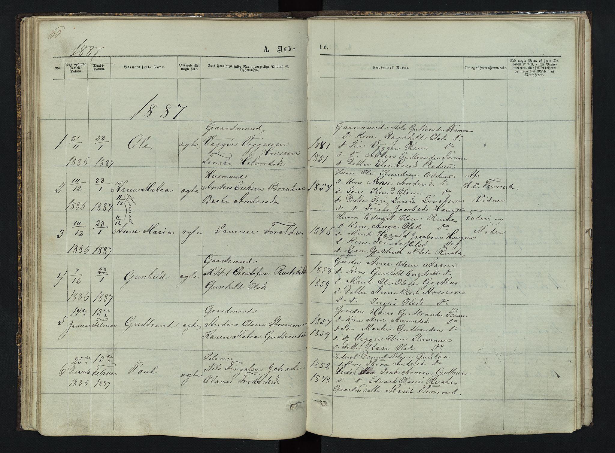 SAH, Sør-Aurdal prestekontor, Klokkerbok nr. 3, 1862-1893, s. 60