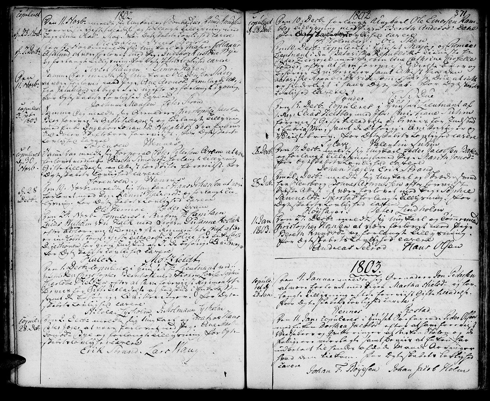 SAT, Ministerialprotokoller, klokkerbøker og fødselsregistre - Sør-Trøndelag, 601/L0038: Ministerialbok nr. 601A06, 1766-1877, s. 371