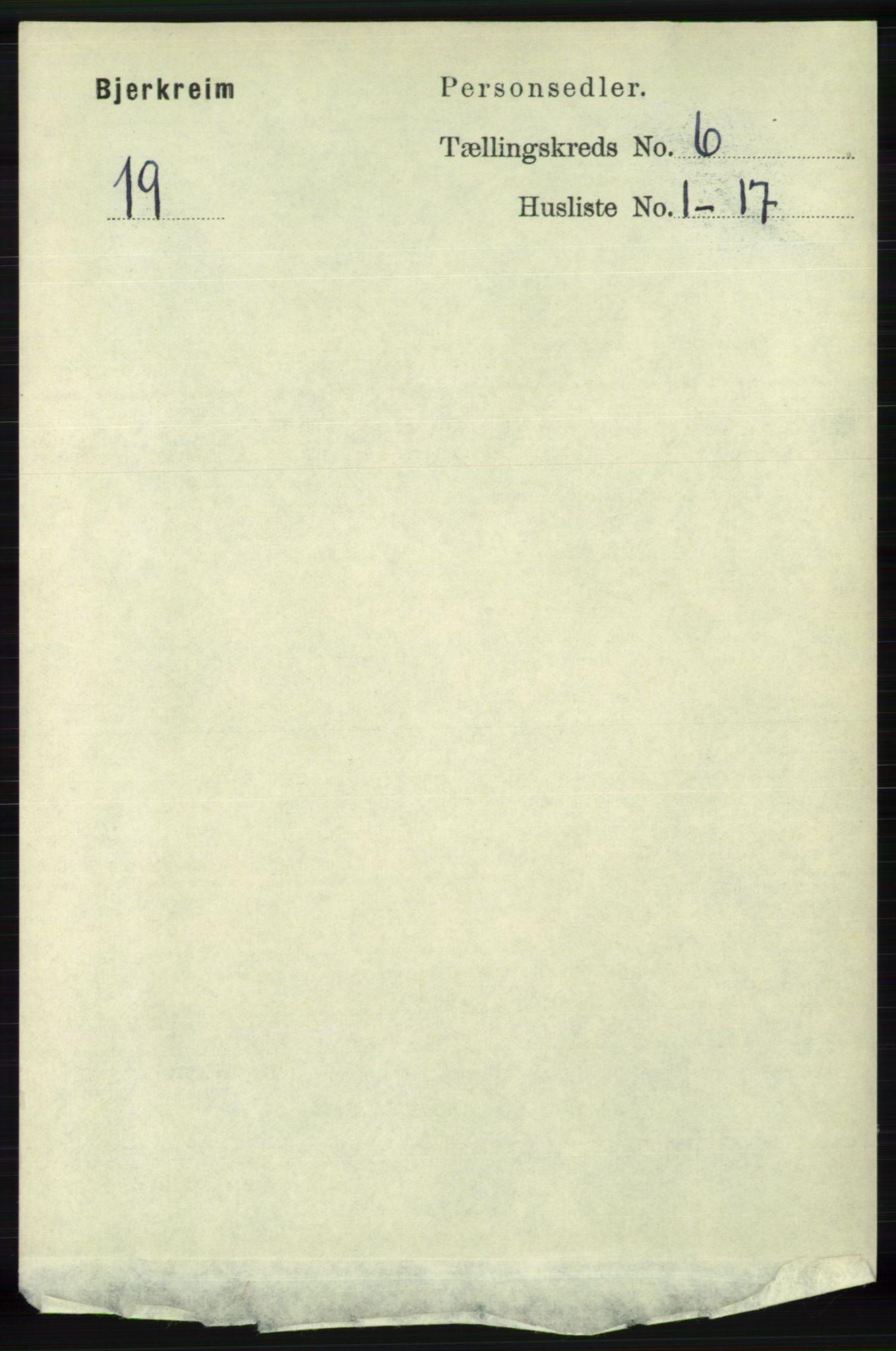 RA, Folketelling 1891 for 1114 Bjerkreim herred, 1891, s. 2053