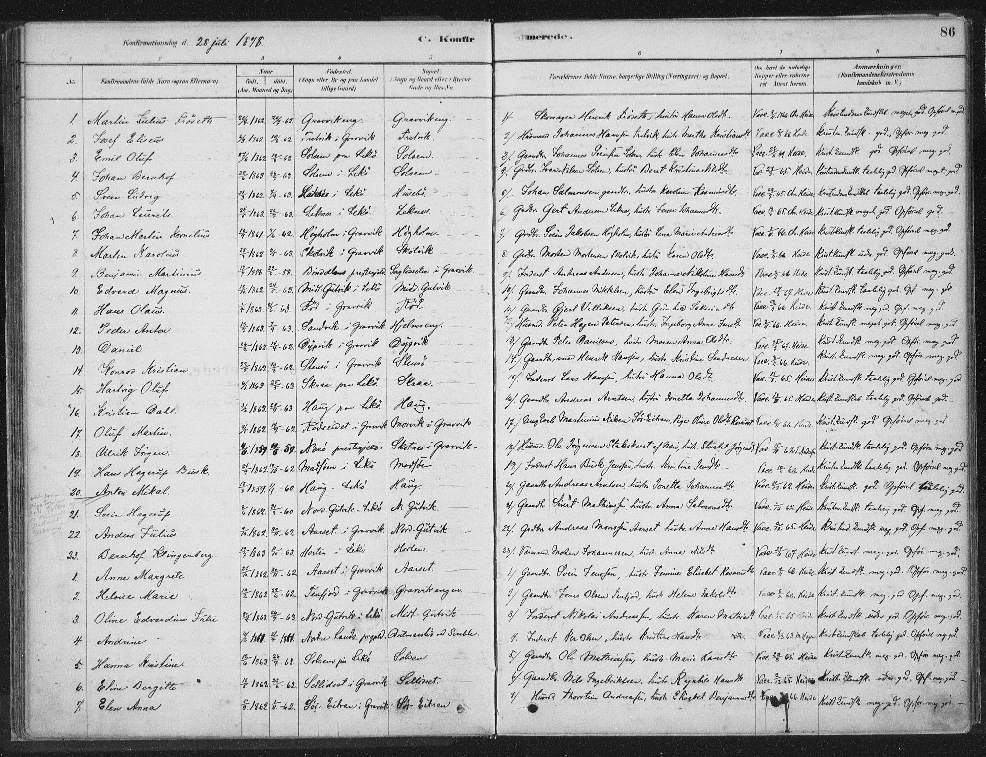 SAT, Ministerialprotokoller, klokkerbøker og fødselsregistre - Nord-Trøndelag, 788/L0697: Ministerialbok nr. 788A04, 1878-1902, s. 86
