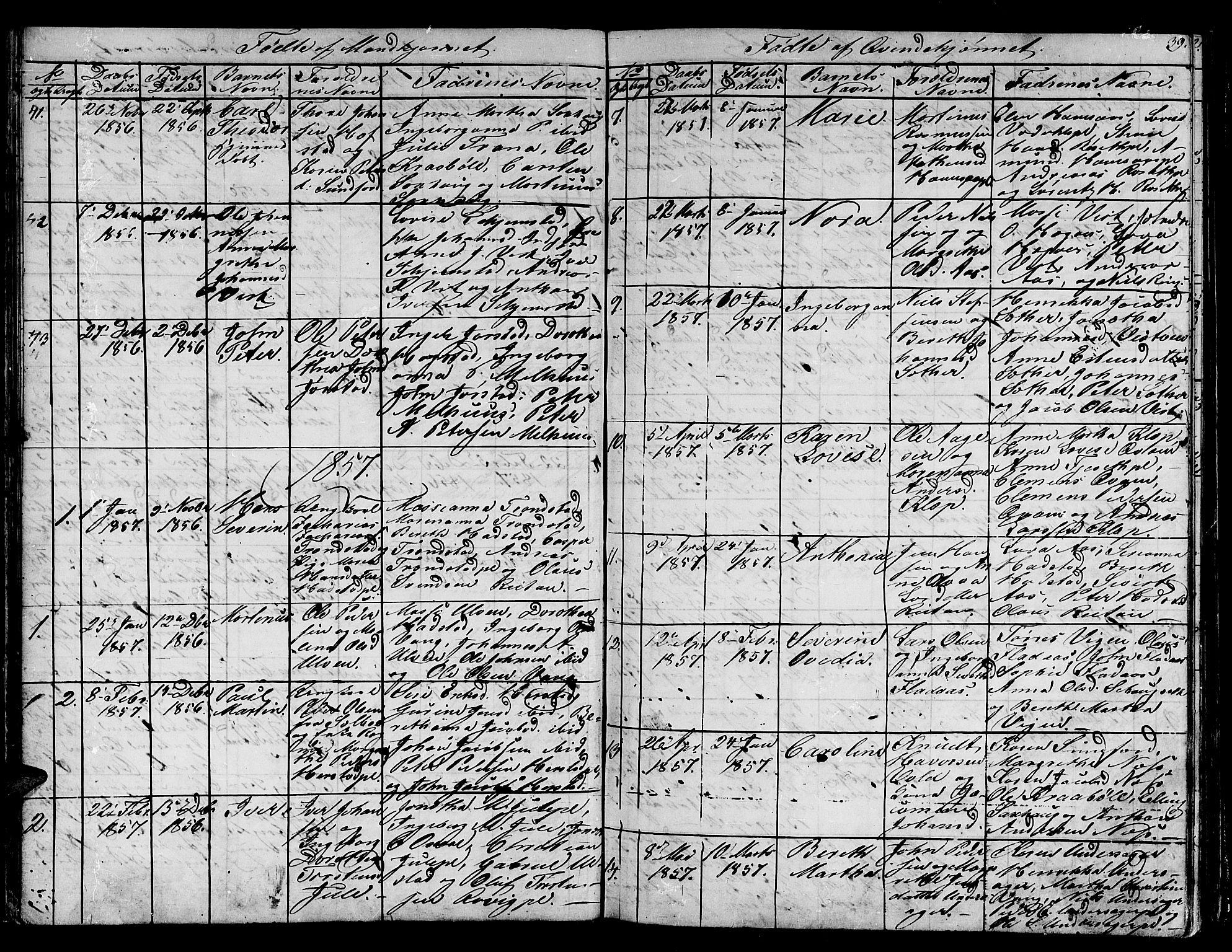 SAT, Ministerialprotokoller, klokkerbøker og fødselsregistre - Nord-Trøndelag, 730/L0299: Klokkerbok nr. 730C02, 1849-1871, s. 39