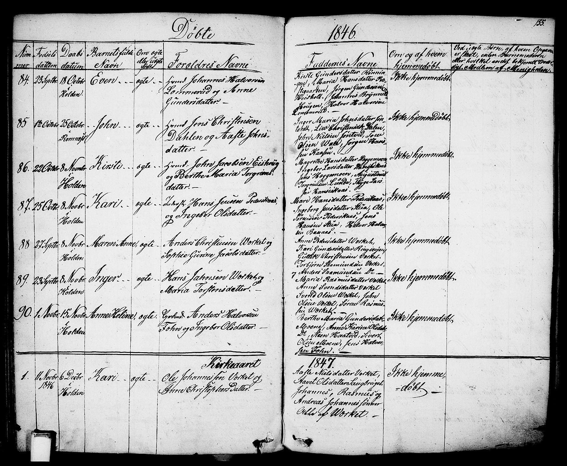 SAKO, Holla kirkebøker, F/Fa/L0004: Ministerialbok nr. 4, 1830-1848, s. 155