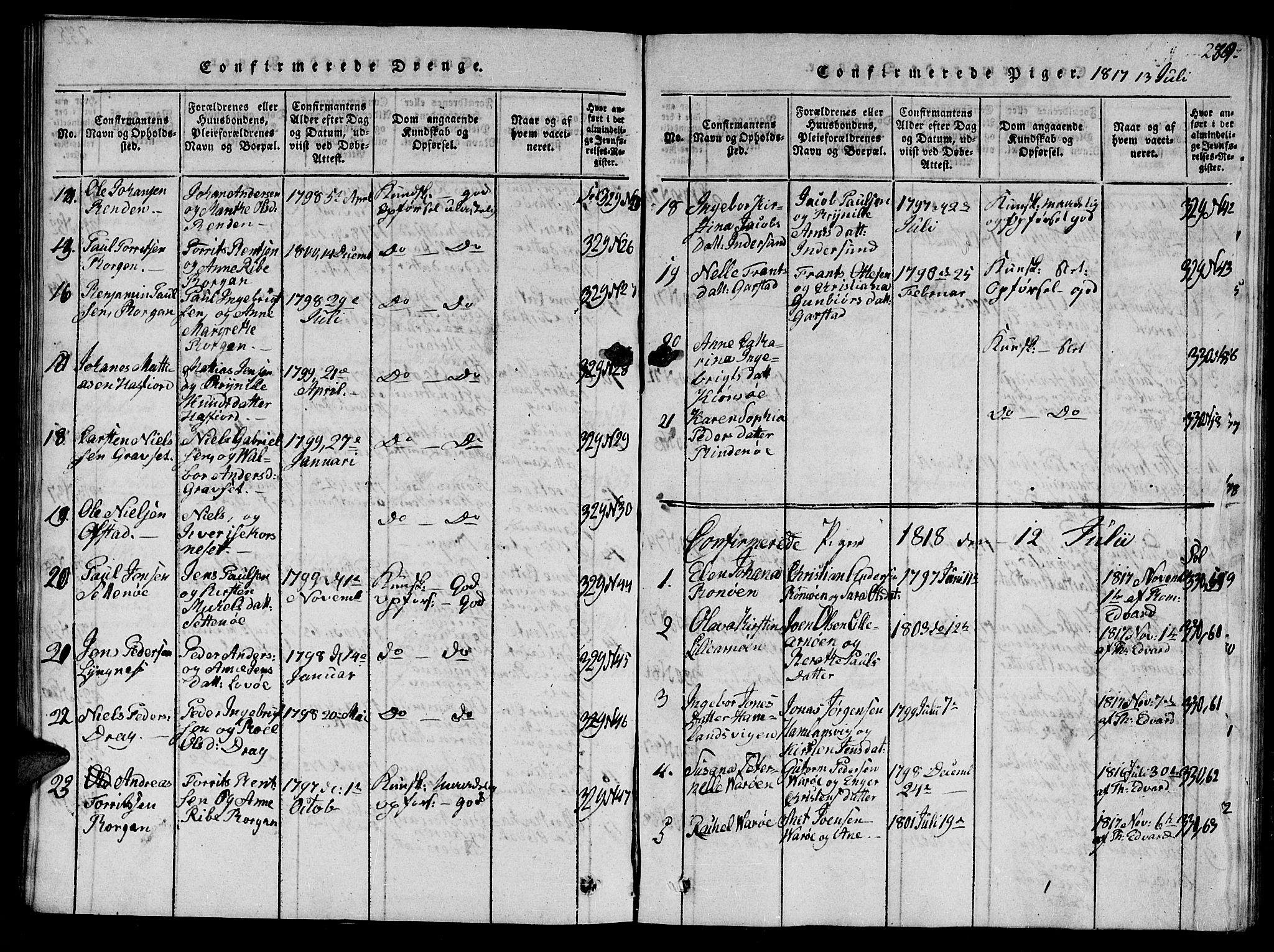 SAT, Ministerialprotokoller, klokkerbøker og fødselsregistre - Nord-Trøndelag, 784/L0679: Klokkerbok nr. 784C01 /1, 1816-1822, s. 239