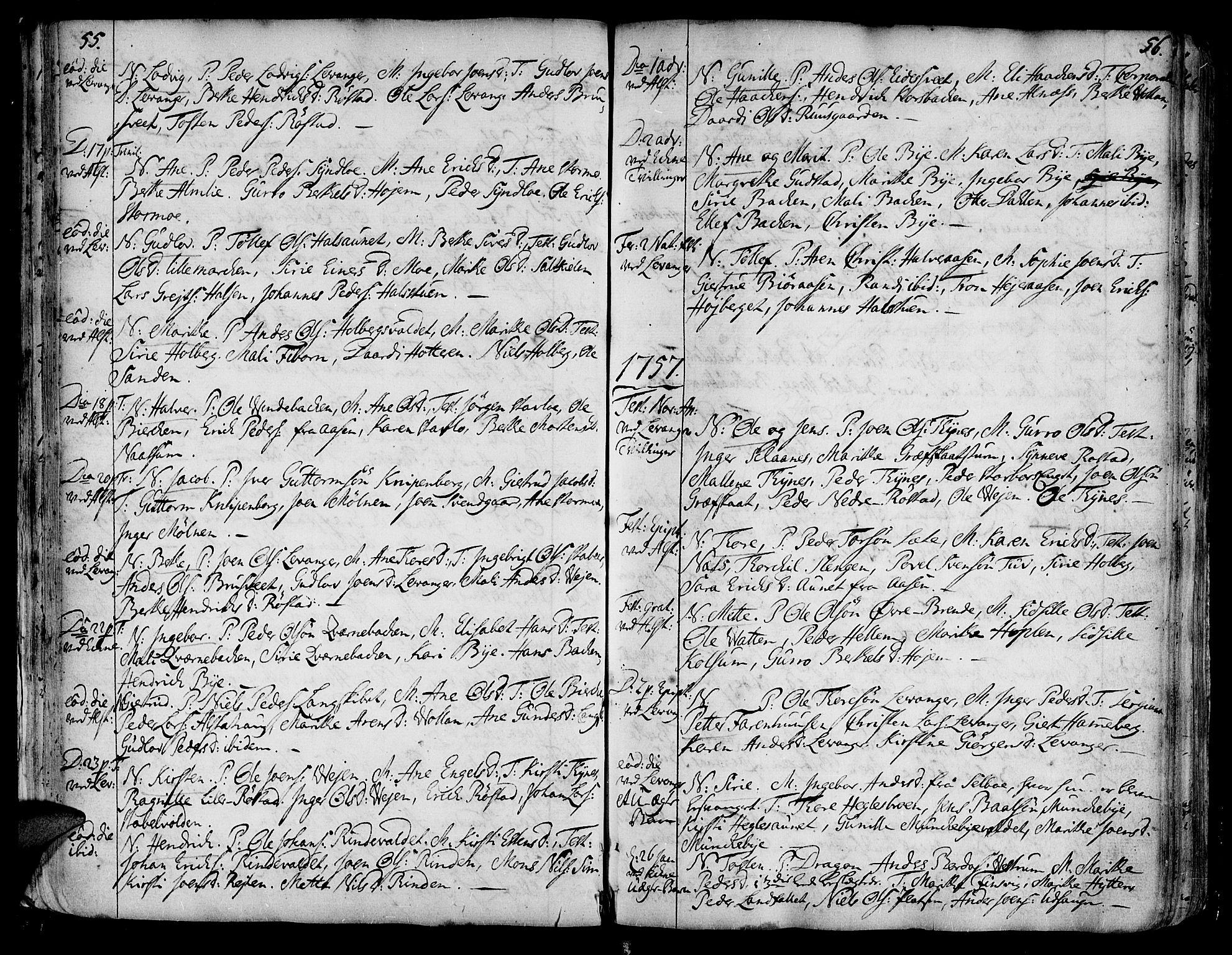 SAT, Ministerialprotokoller, klokkerbøker og fødselsregistre - Nord-Trøndelag, 717/L0141: Ministerialbok nr. 717A01, 1747-1803, s. 55-56