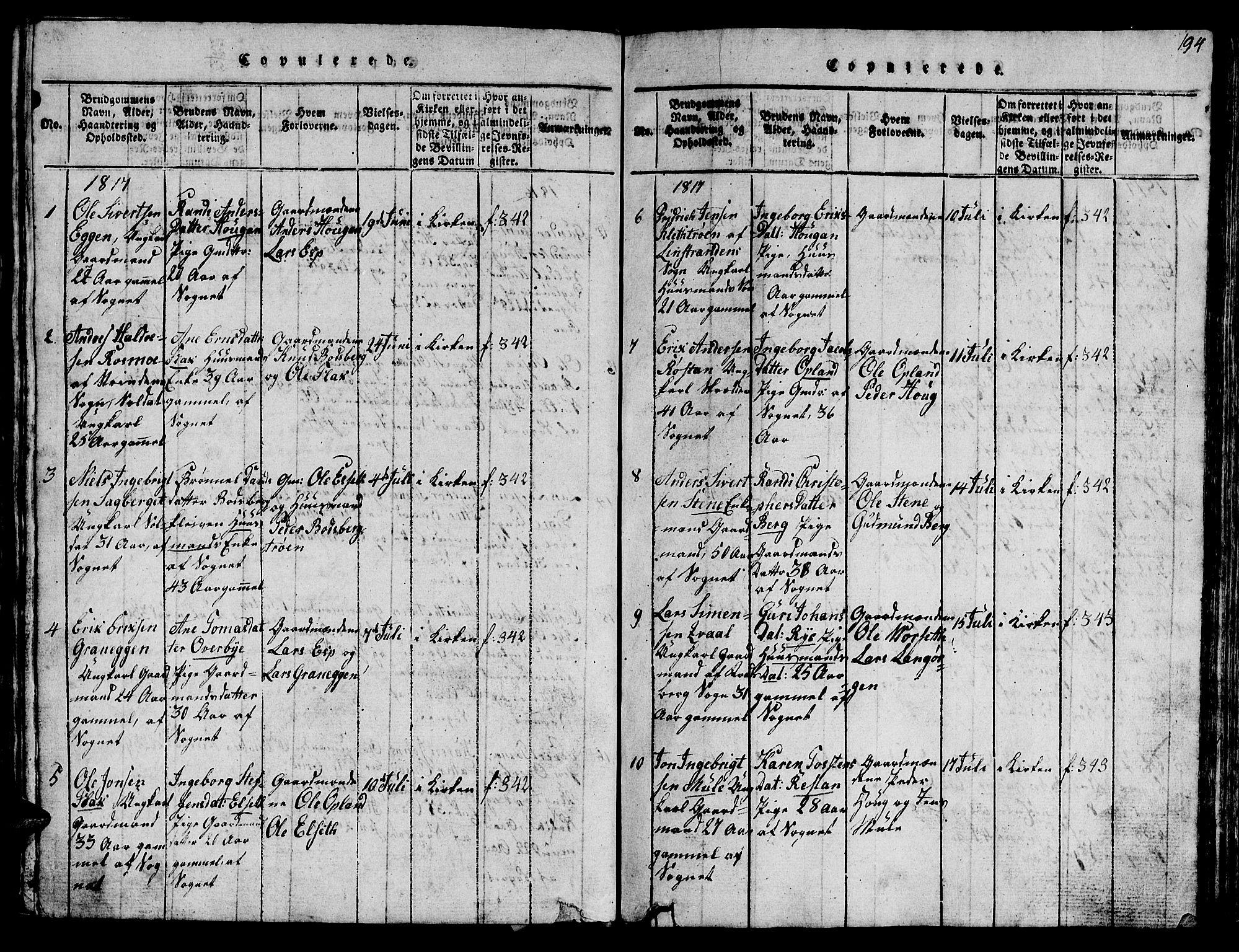 SAT, Ministerialprotokoller, klokkerbøker og fødselsregistre - Sør-Trøndelag, 612/L0385: Klokkerbok nr. 612C01, 1816-1845, s. 194