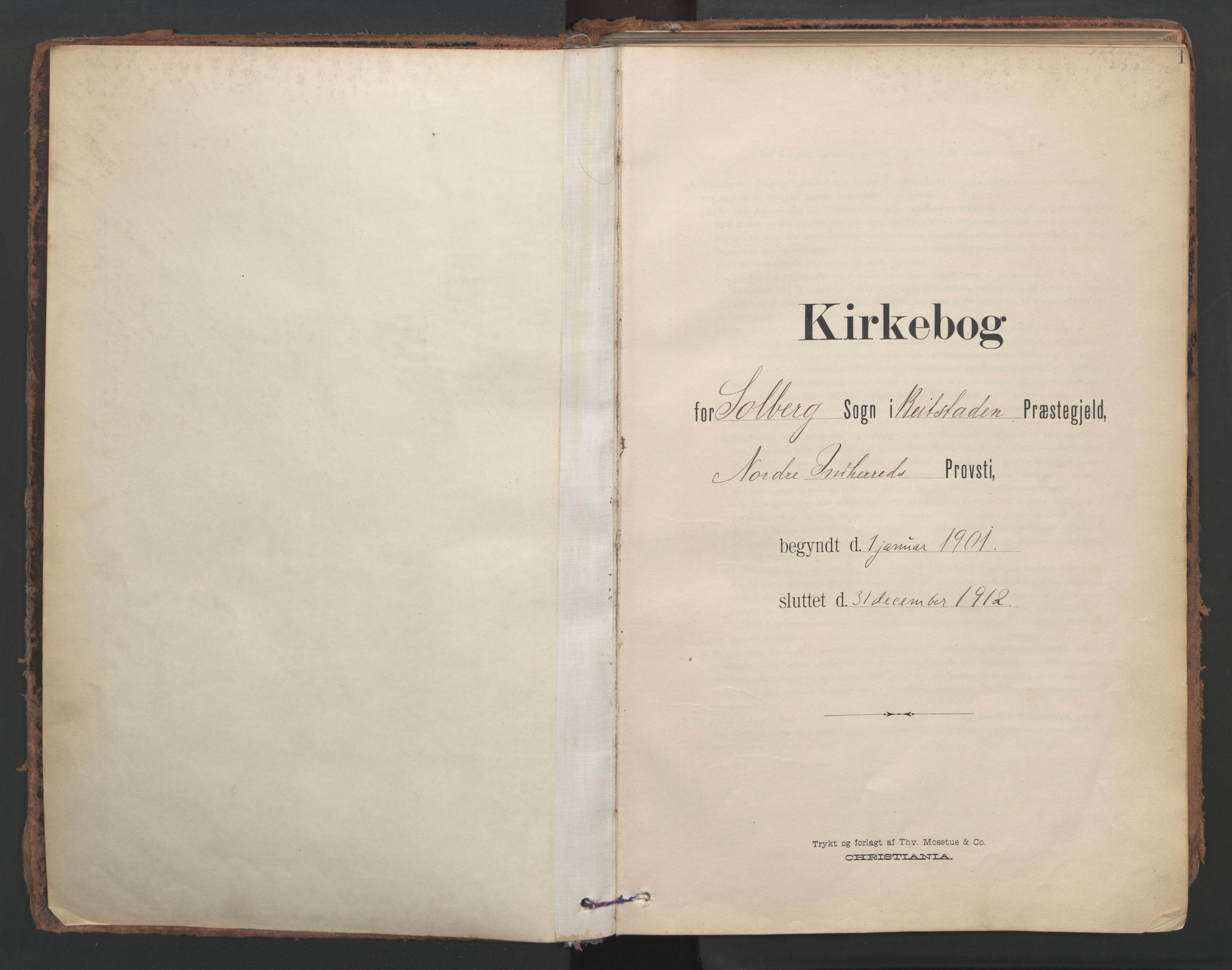 SAT, Ministerialprotokoller, klokkerbøker og fødselsregistre - Nord-Trøndelag, 741/L0397: Ministerialbok nr. 741A11, 1901-1911, s. 1