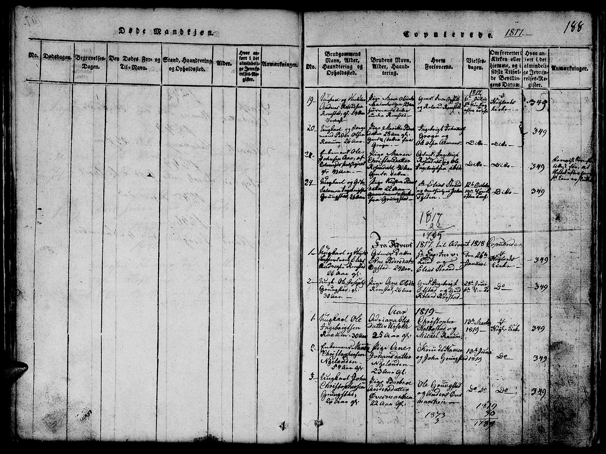 SAT, Ministerialprotokoller, klokkerbøker og fødselsregistre - Nord-Trøndelag, 765/L0562: Klokkerbok nr. 765C01, 1817-1851, s. 188
