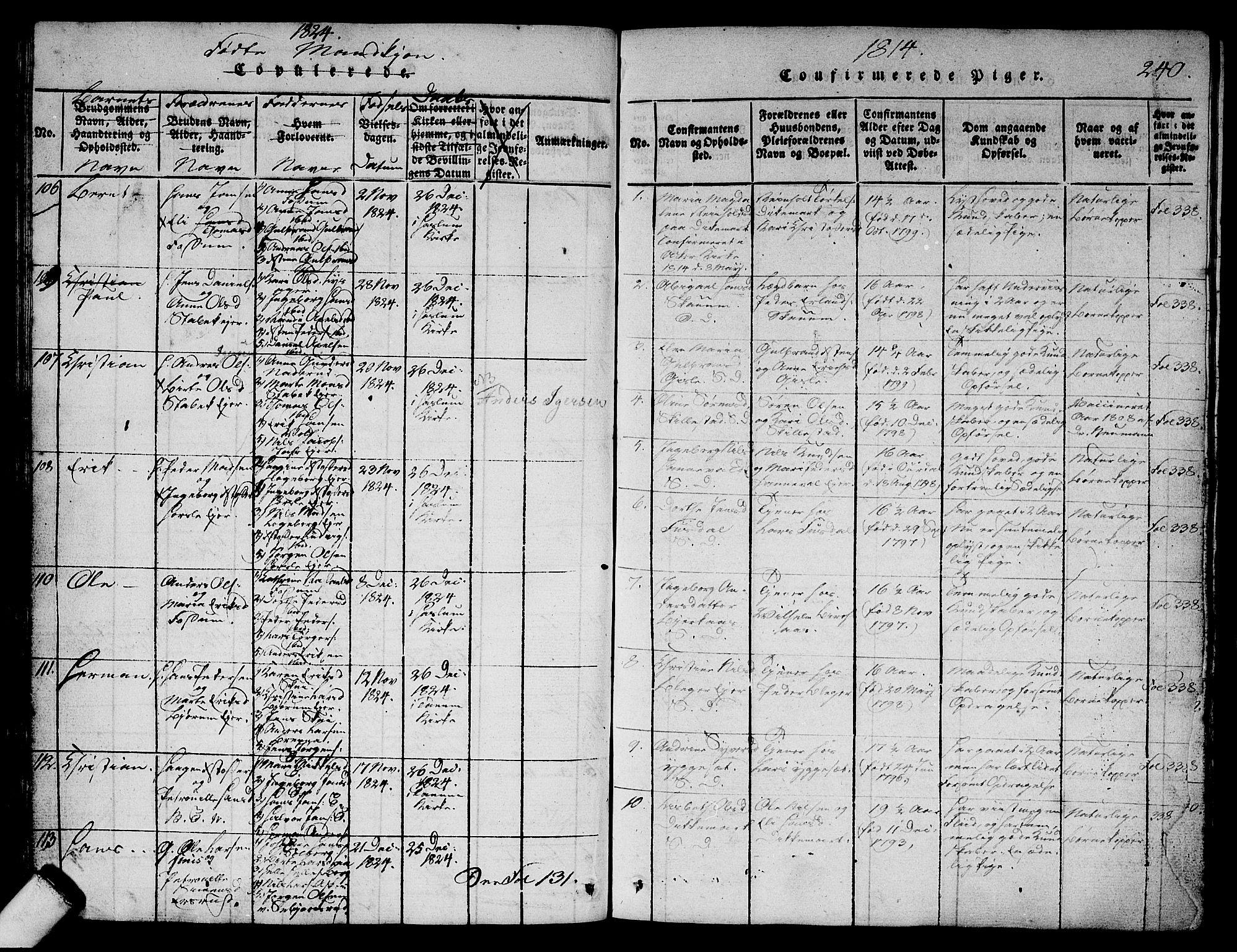 SAO, Asker prestekontor Kirkebøker, G/Ga/L0001: Klokkerbok nr. I 1, 1814-1830, s. 240