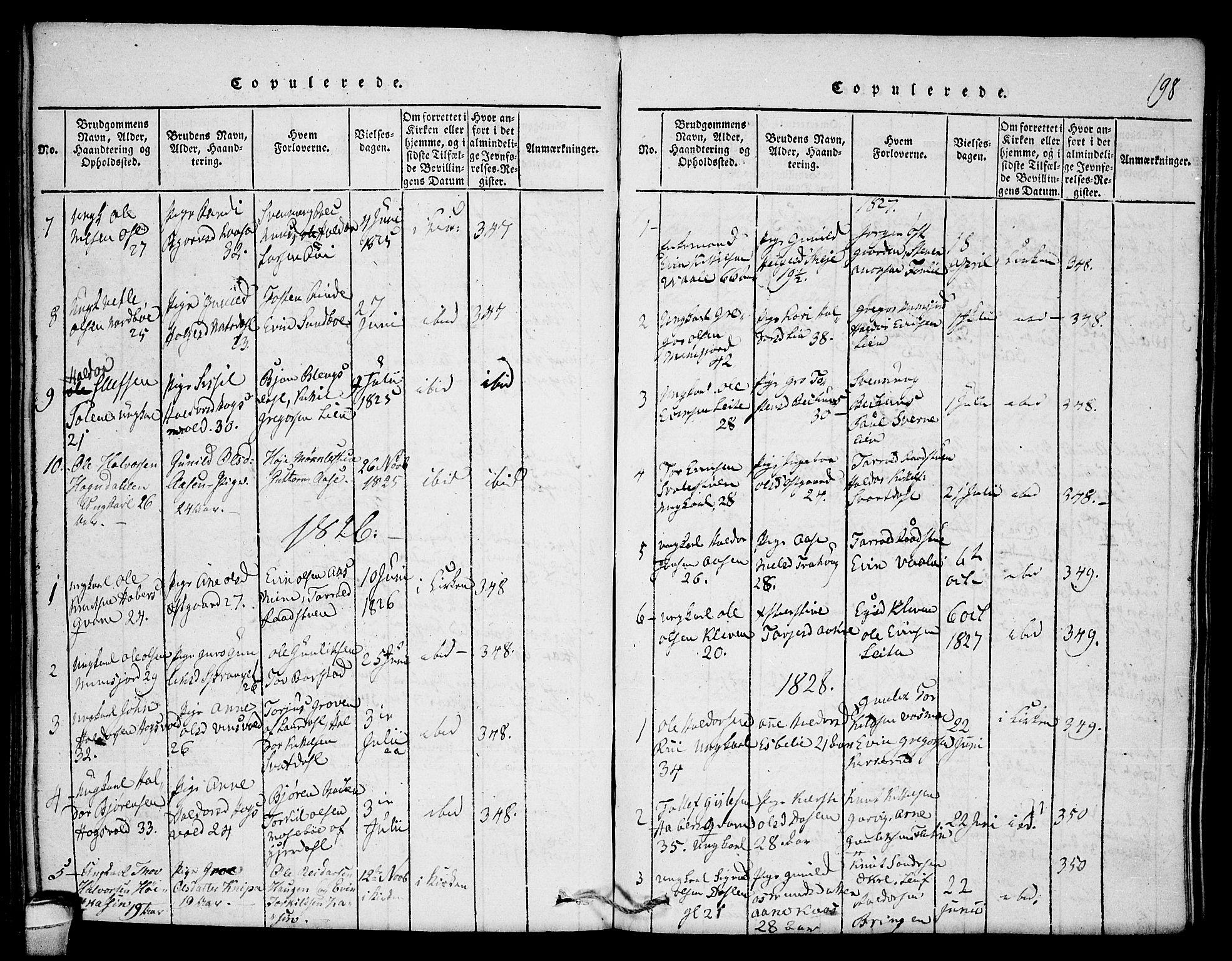 SAKO, Seljord kirkebøker, F/Fb/L0001: Ministerialbok nr. II 1, 1815-1831, s. 198