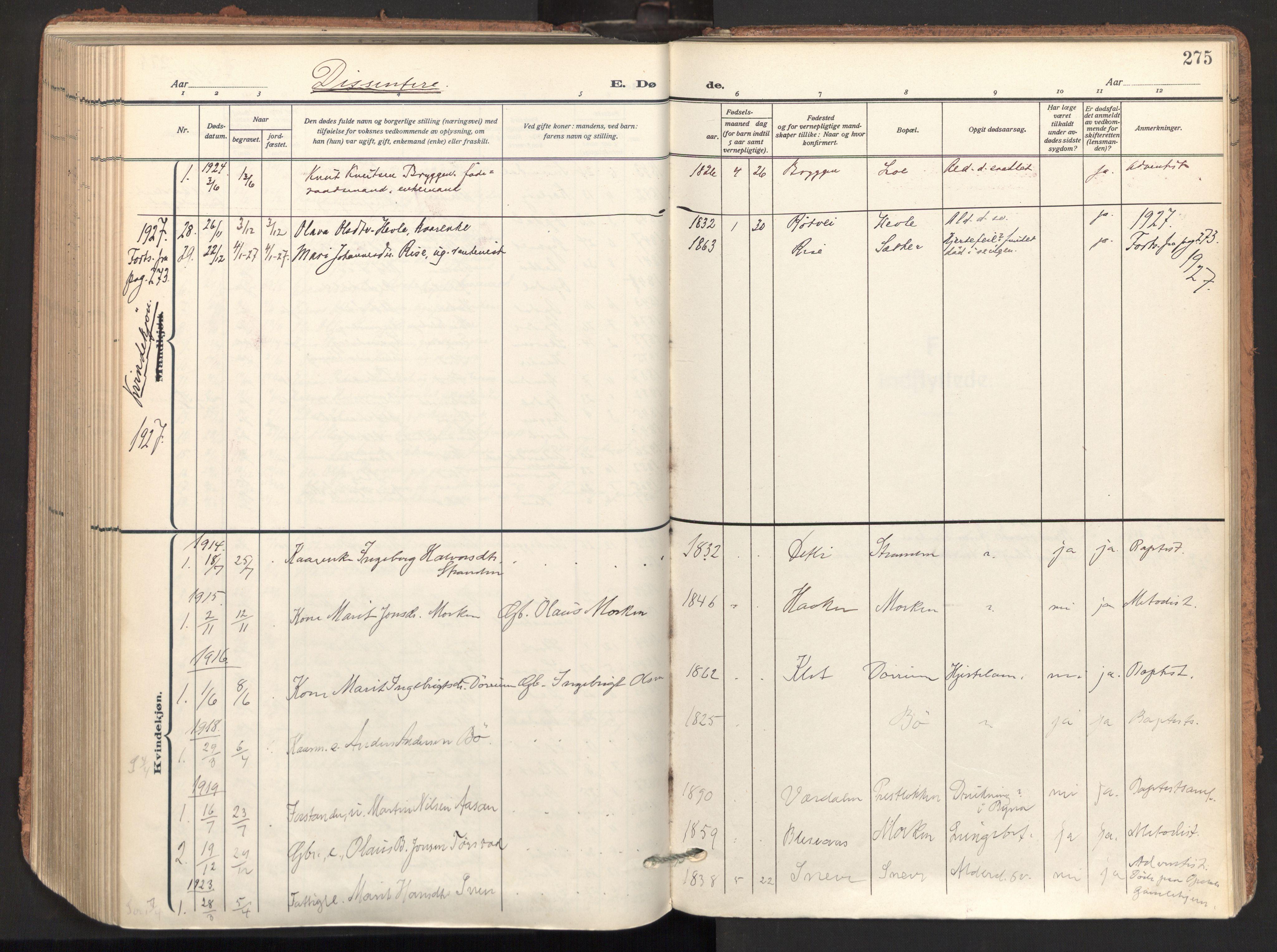 SAT, Ministerialprotokoller, klokkerbøker og fødselsregistre - Sør-Trøndelag, 678/L0909: Ministerialbok nr. 678A17, 1912-1930, s. 275