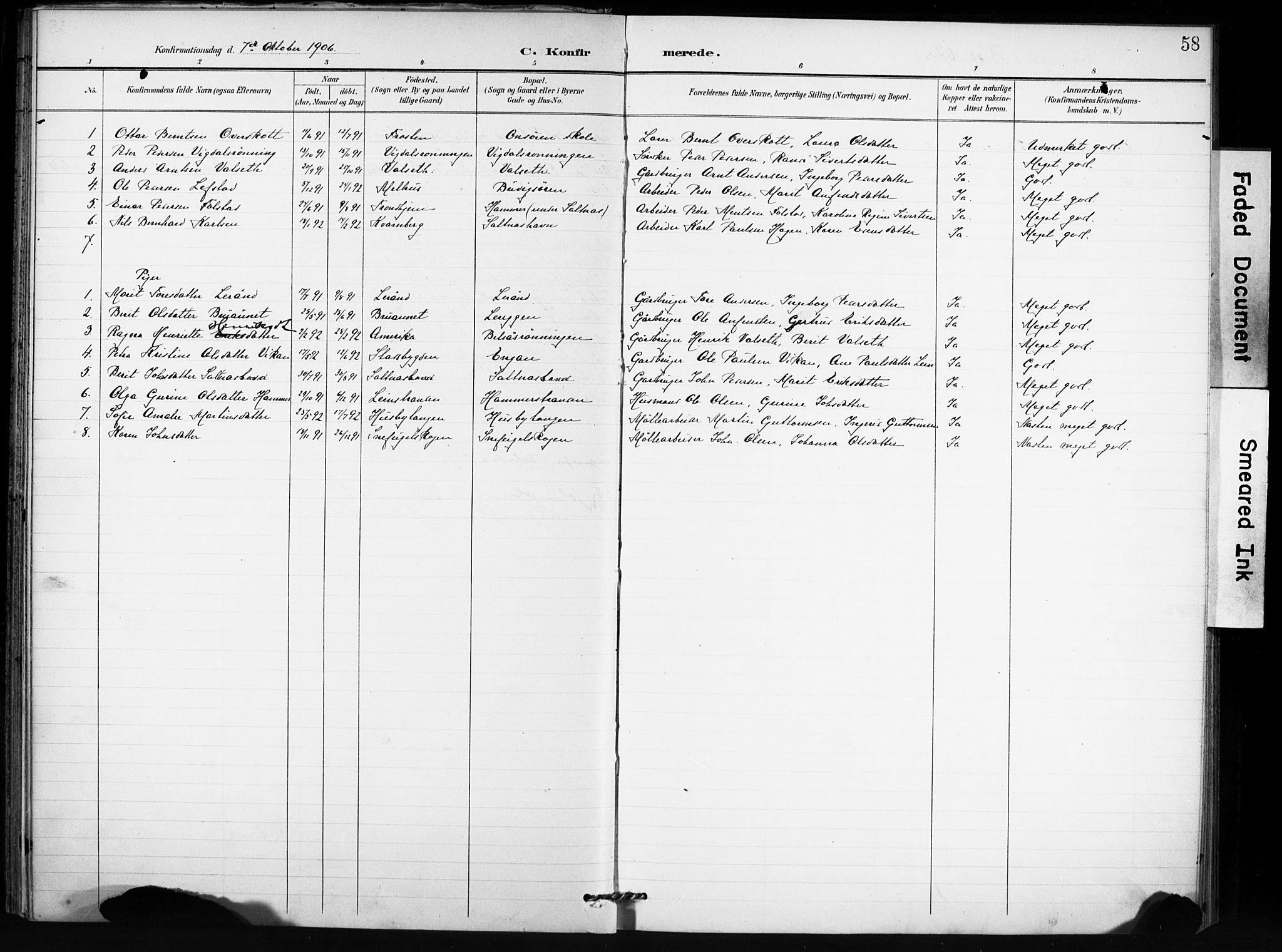 SAT, Ministerialprotokoller, klokkerbøker og fødselsregistre - Sør-Trøndelag, 666/L0787: Ministerialbok nr. 666A05, 1895-1908, s. 58