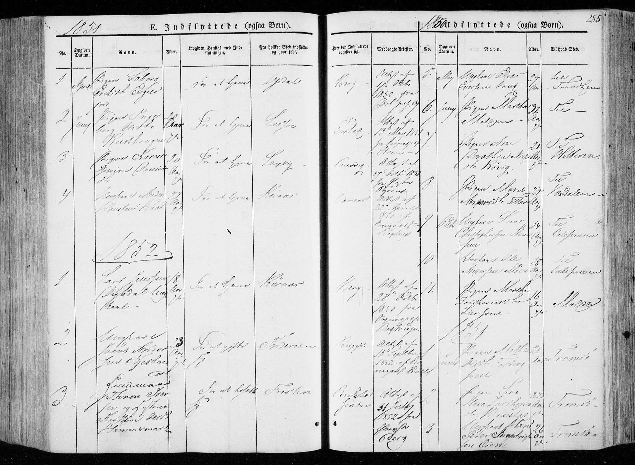 SAT, Ministerialprotokoller, klokkerbøker og fødselsregistre - Nord-Trøndelag, 722/L0218: Ministerialbok nr. 722A05, 1843-1868, s. 285
