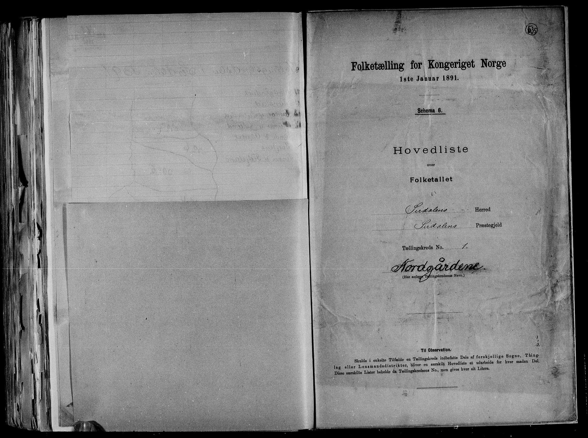 RA, Folketelling 1891 for 1046 Sirdal herred, 1891, s. 6