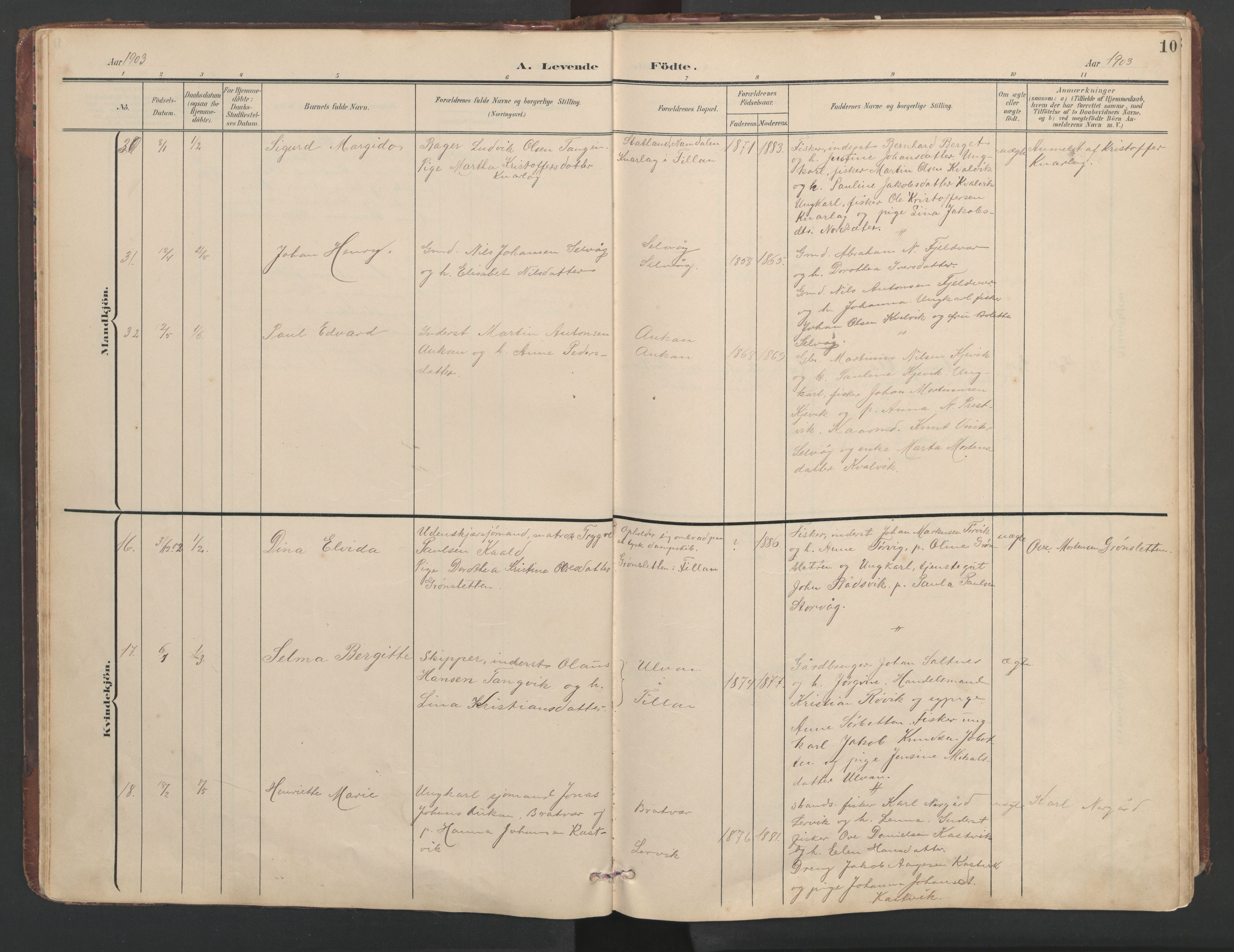 SAT, Ministerialprotokoller, klokkerbøker og fødselsregistre - Sør-Trøndelag, 638/L0571: Klokkerbok nr. 638C03, 1901-1930, s. 10