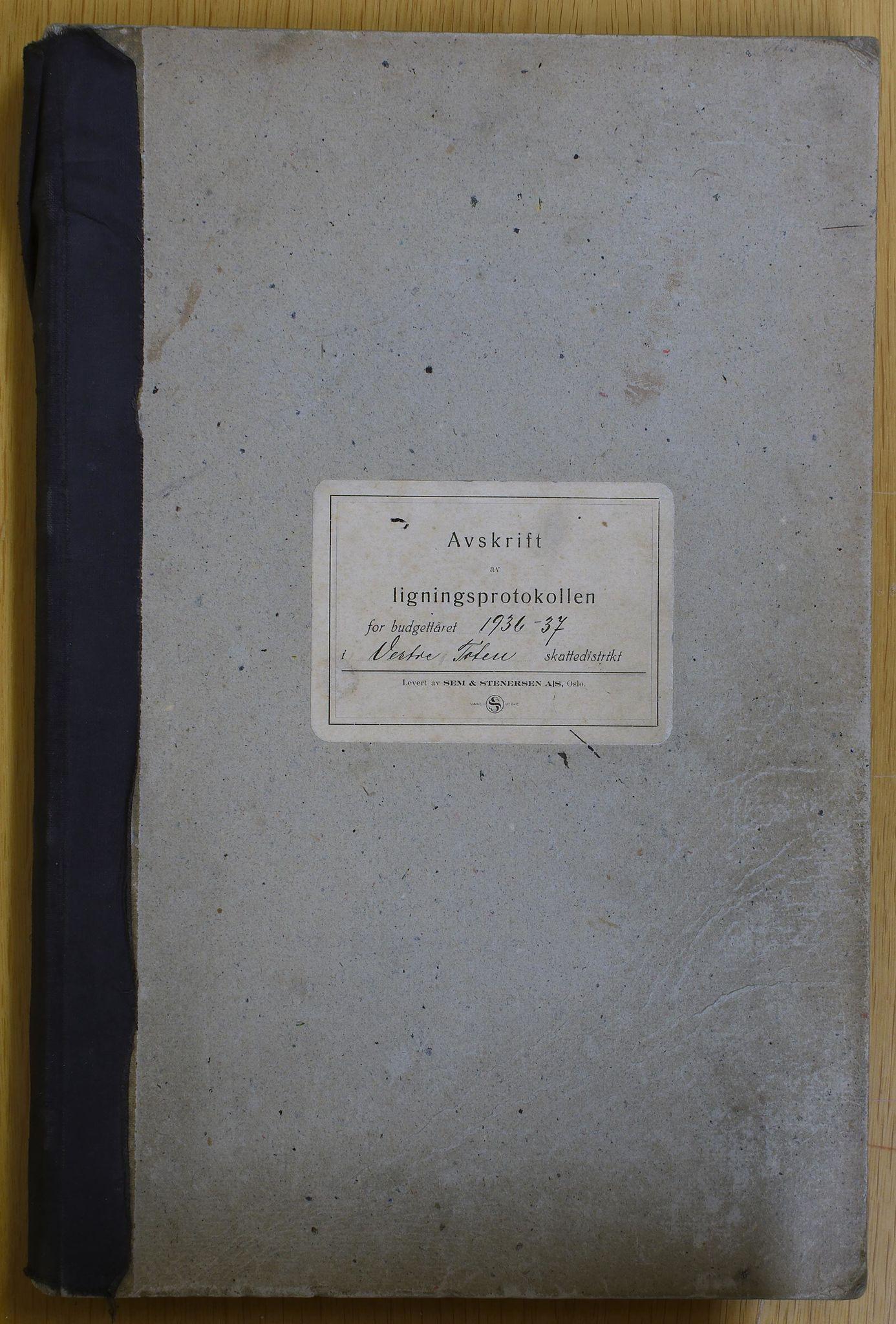 KVT, Vestre Toten kommunearkiv: Vestre Toten kommune, Avskrift av ligningsprotokollen for budsjettåret 1936-1937 i Vestre Toten skattedistrikt, 1936-1937