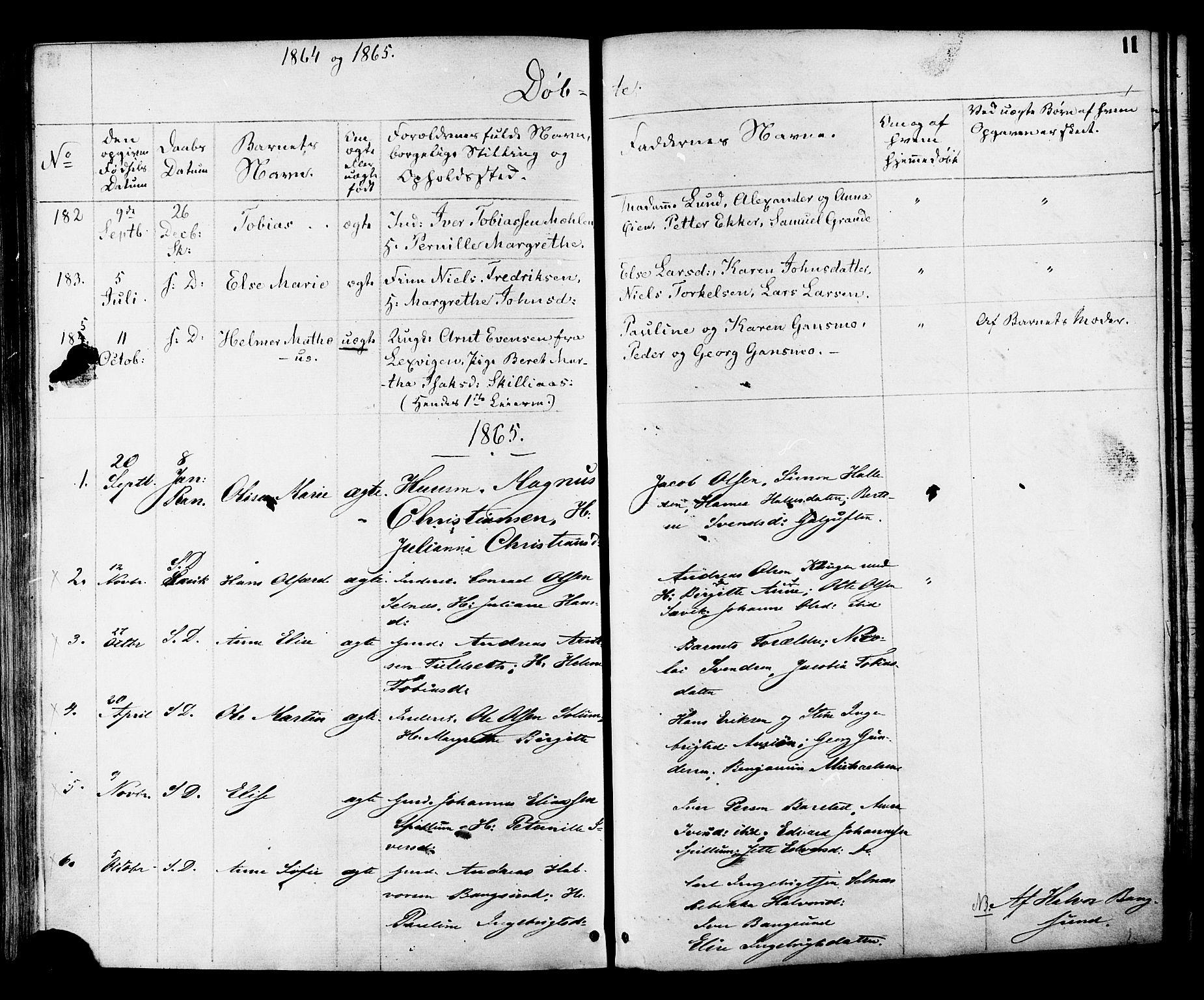 SAT, Ministerialprotokoller, klokkerbøker og fødselsregistre - Nord-Trøndelag, 764/L0553: Ministerialbok nr. 764A08, 1858-1880, s. 11