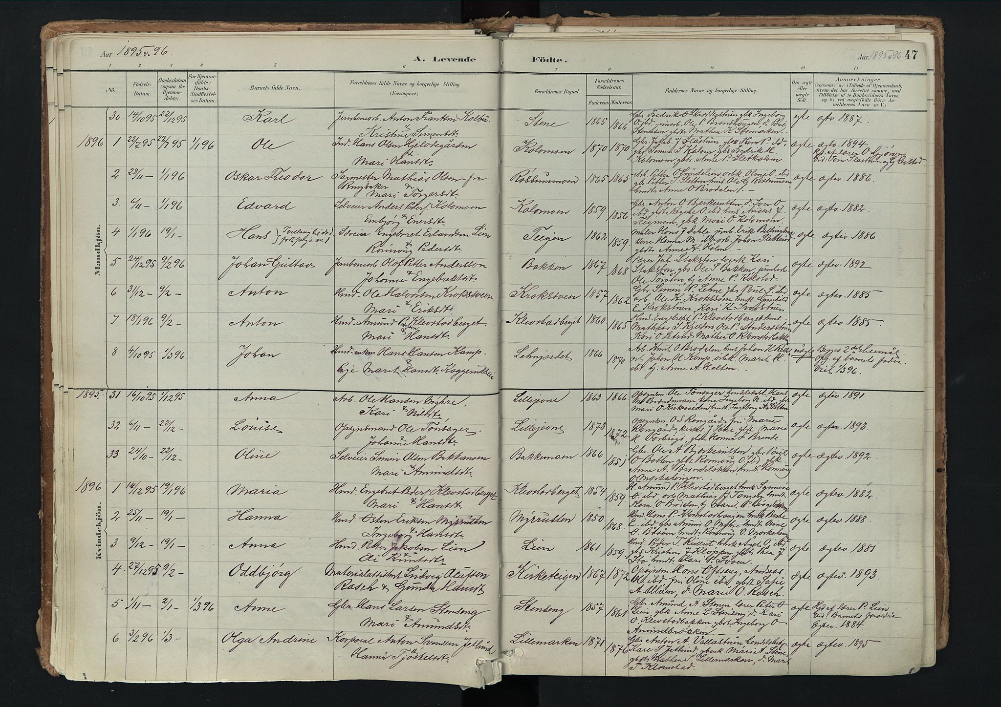 SAH, Nord-Fron prestekontor, Ministerialbok nr. 3, 1884-1914, s. 47