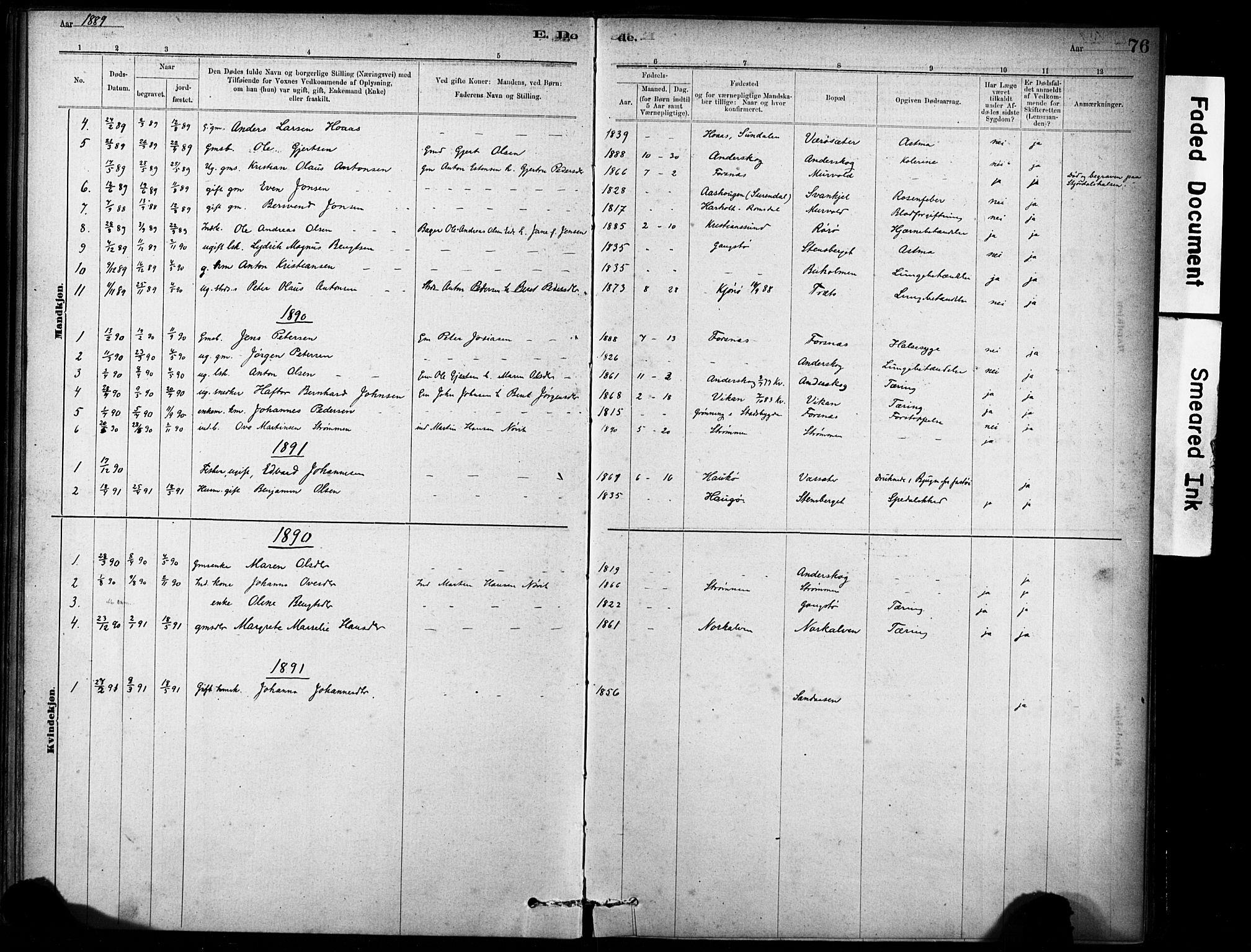 SAT, Ministerialprotokoller, klokkerbøker og fødselsregistre - Sør-Trøndelag, 635/L0551: Ministerialbok nr. 635A01, 1882-1899, s. 76