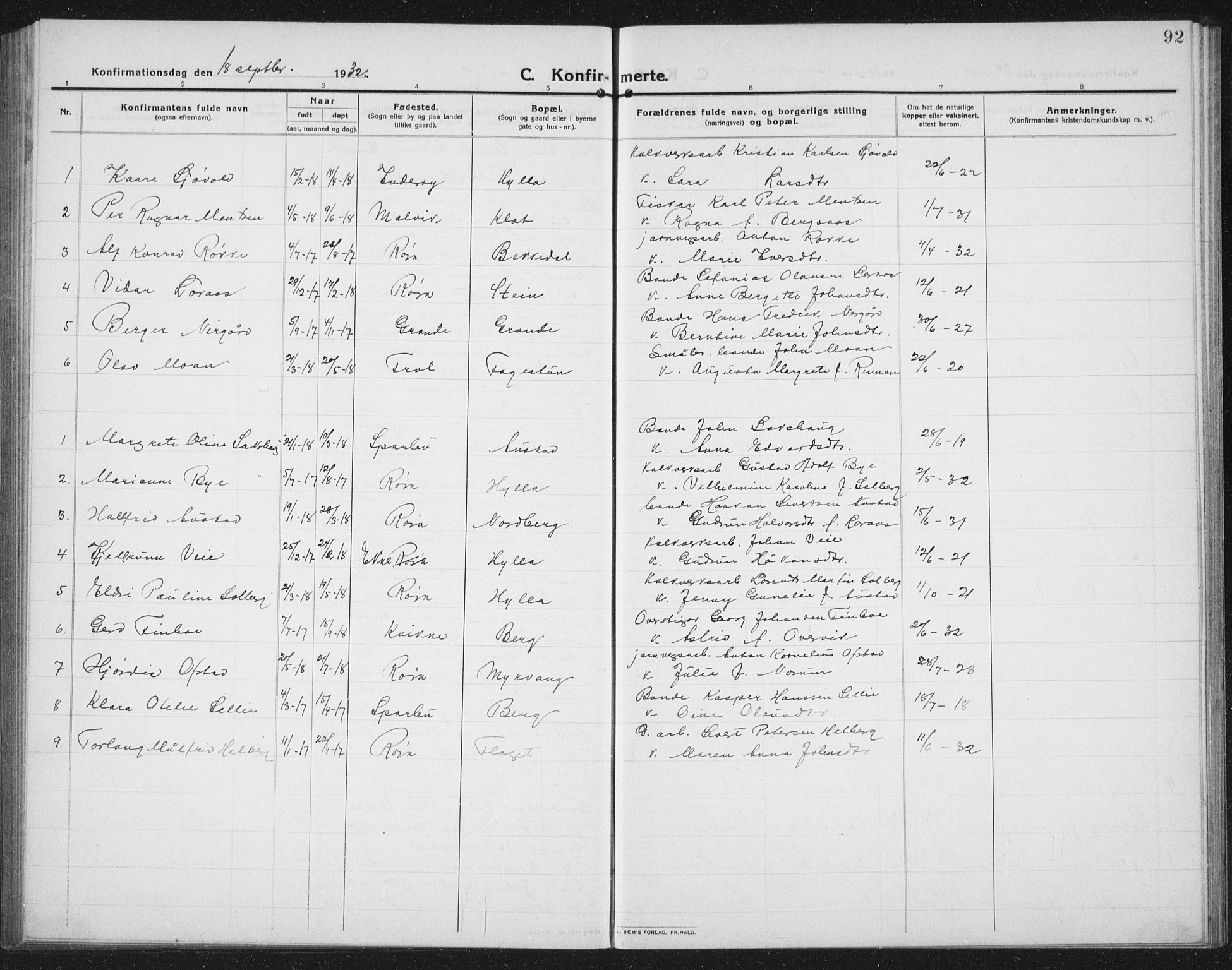 SAT, Ministerialprotokoller, klokkerbøker og fødselsregistre - Nord-Trøndelag, 731/L0312: Klokkerbok nr. 731C03, 1911-1935, s. 92