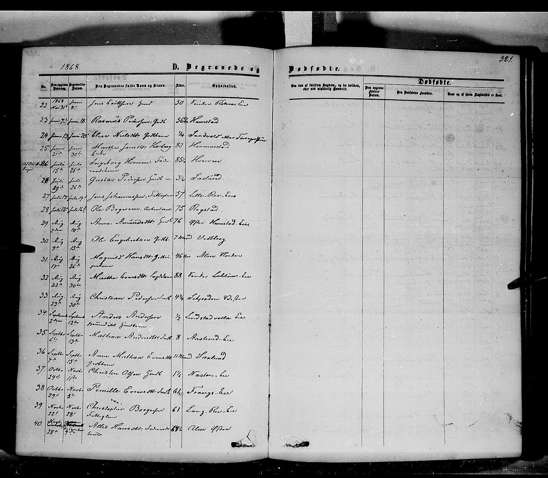 SAH, Stange prestekontor, K/L0013: Ministerialbok nr. 13, 1862-1879, s. 321
