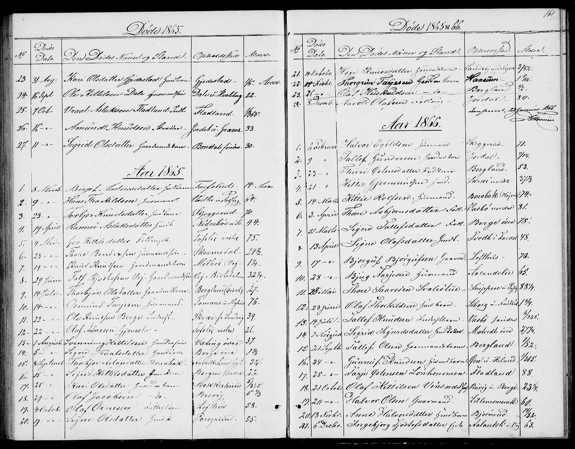 SAKO, Fyresdal kirkebøker, G/Ga/L0004: Klokkerbok nr. I 4, 1864-1892, s. 161