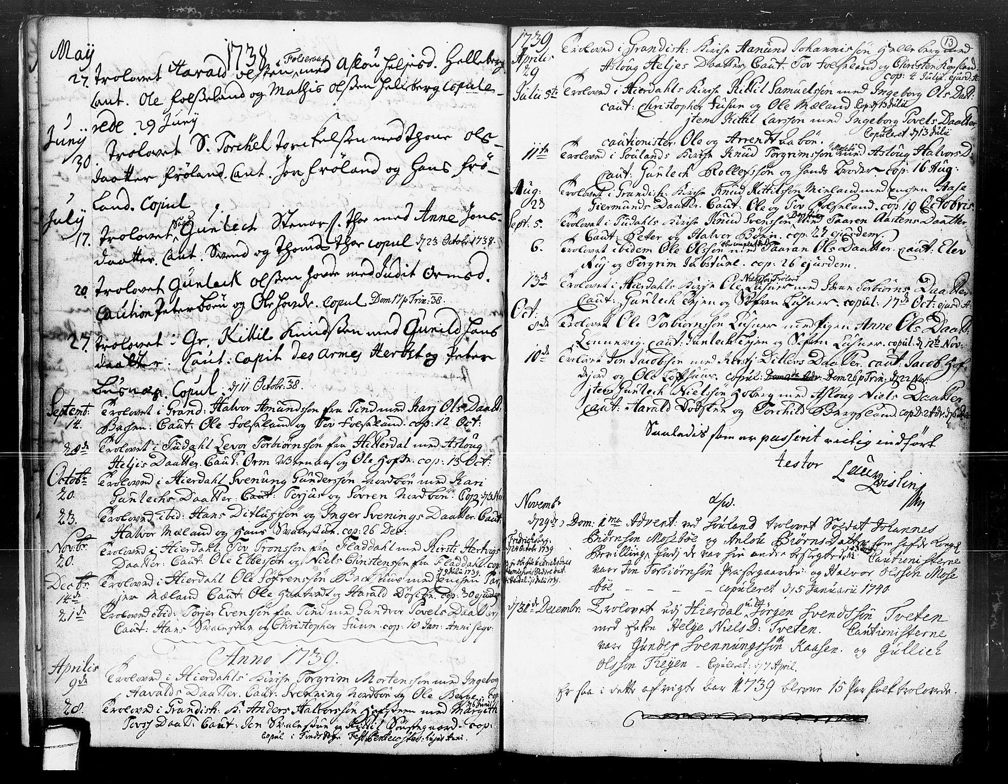 SAKO, Hjartdal kirkebøker, F/Fa/L0004: Ministerialbok nr. I 4, 1727-1795, s. 13