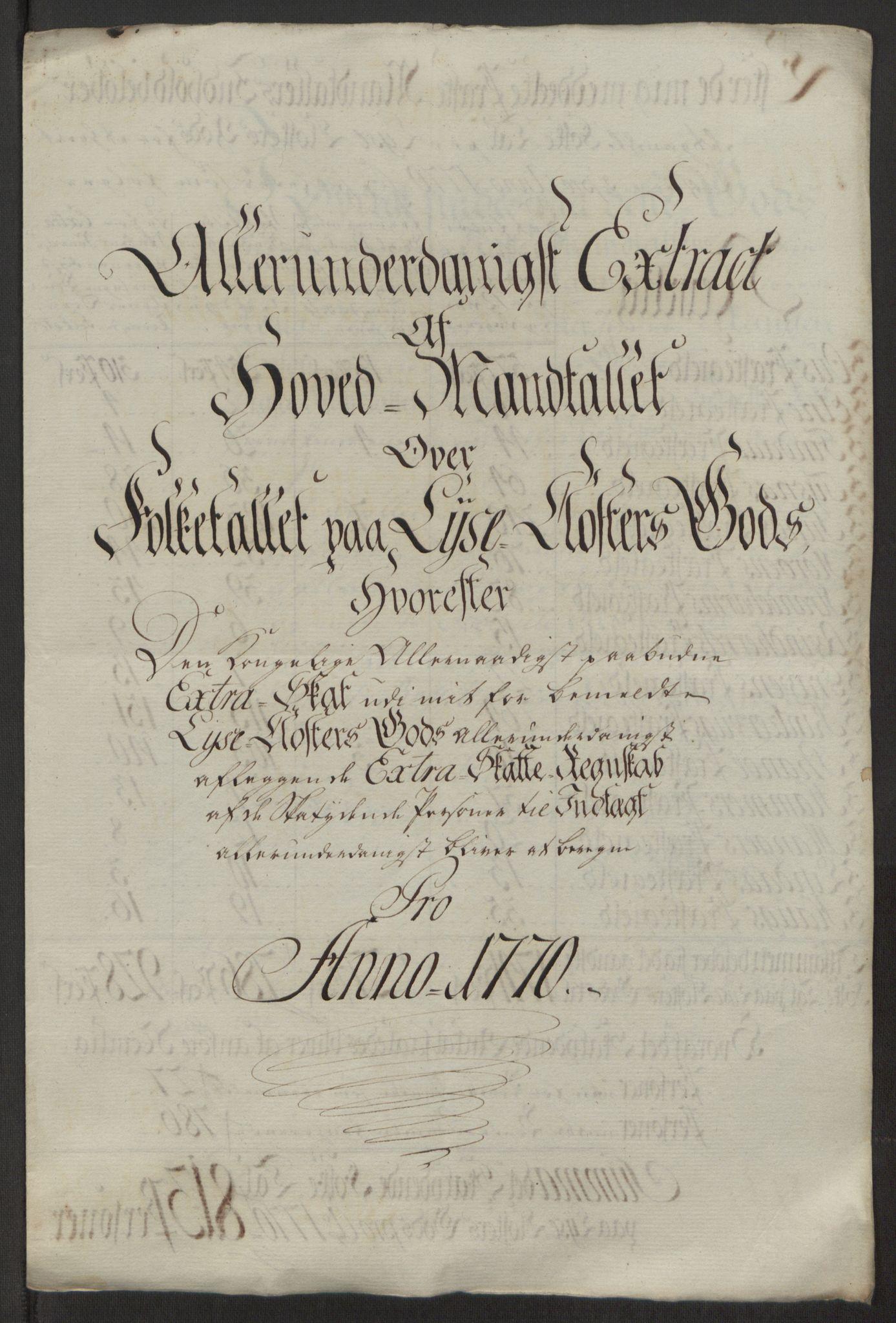 RA, Rentekammeret inntil 1814, Reviderte regnskaper, Fogderegnskap, R50/L3180: Ekstraskatten Lyse kloster, 1762-1783, s. 235