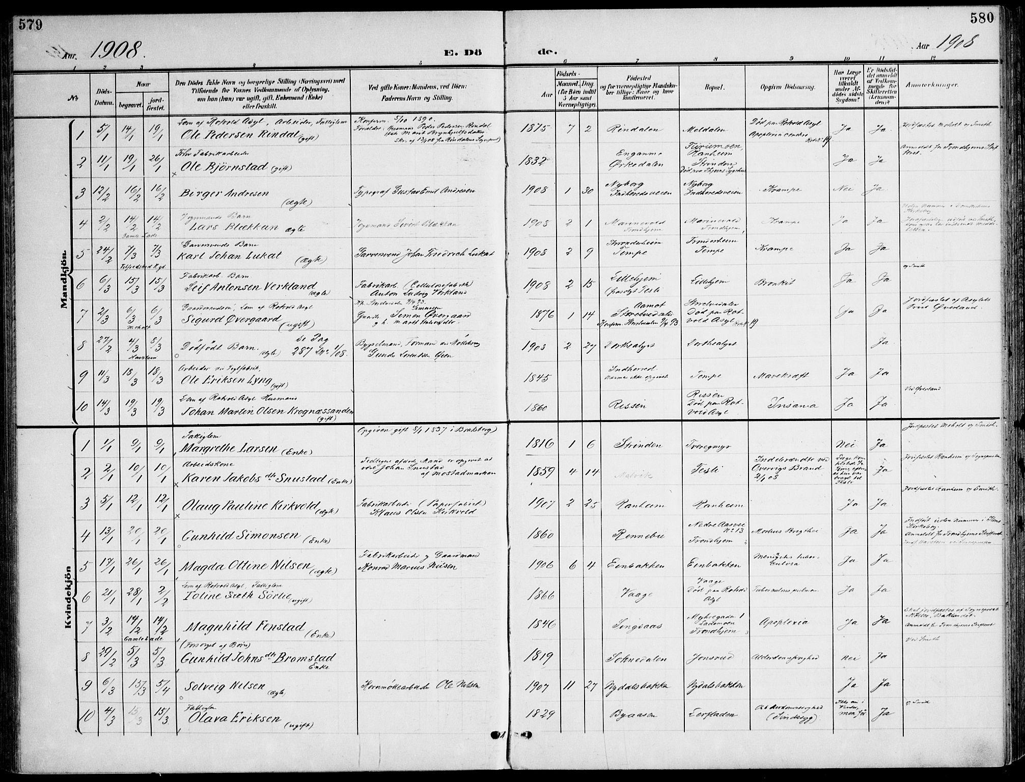 SAT, Ministerialprotokoller, klokkerbøker og fødselsregistre - Sør-Trøndelag, 607/L0320: Ministerialbok nr. 607A04, 1907-1915, s. 579-580