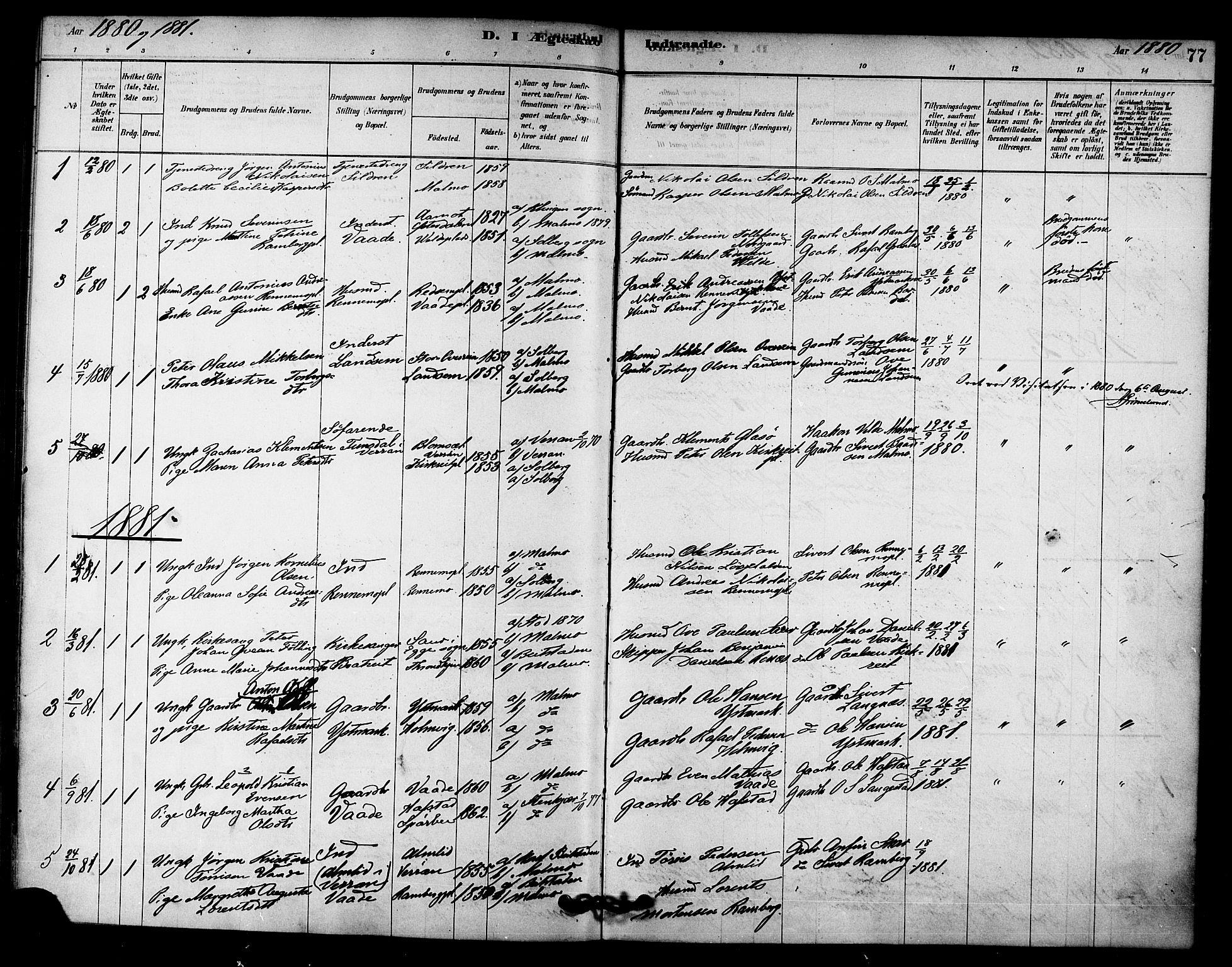 SAT, Ministerialprotokoller, klokkerbøker og fødselsregistre - Nord-Trøndelag, 745/L0429: Ministerialbok nr. 745A01, 1878-1894, s. 77