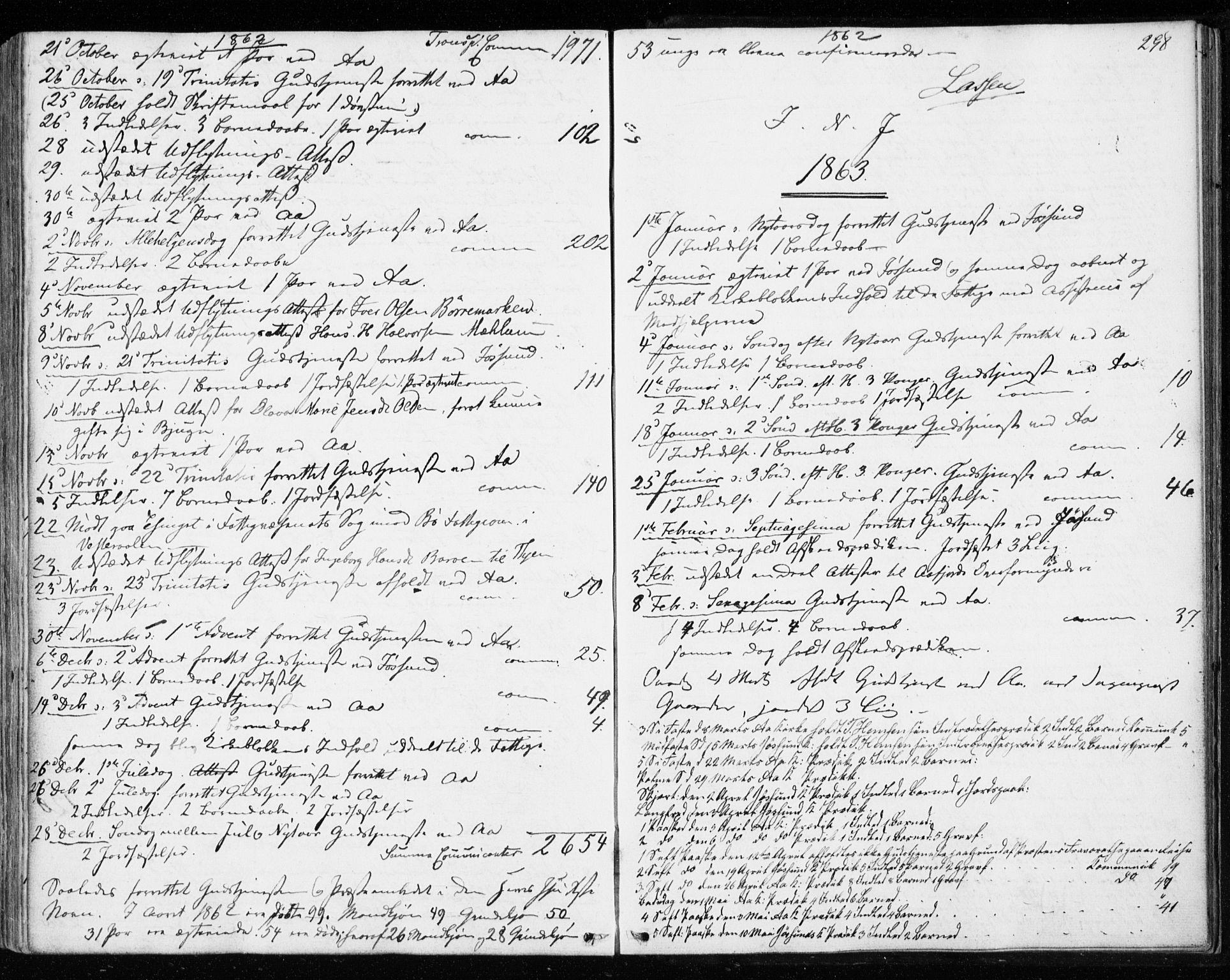 SAT, Ministerialprotokoller, klokkerbøker og fødselsregistre - Sør-Trøndelag, 655/L0678: Ministerialbok nr. 655A07, 1861-1873, s. 298