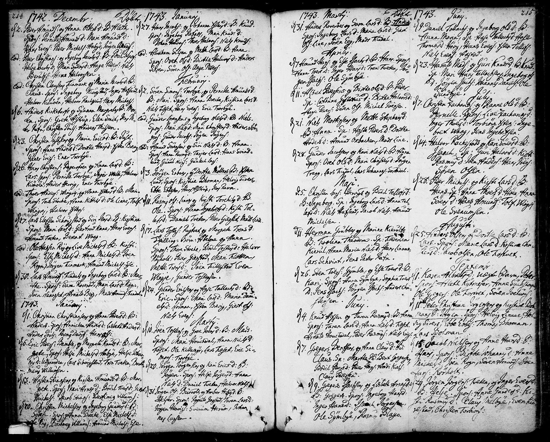 SAKO, Bamble kirkebøker, F/Fa/L0001: Ministerialbok nr. I 1, 1702-1774, s. 214-215