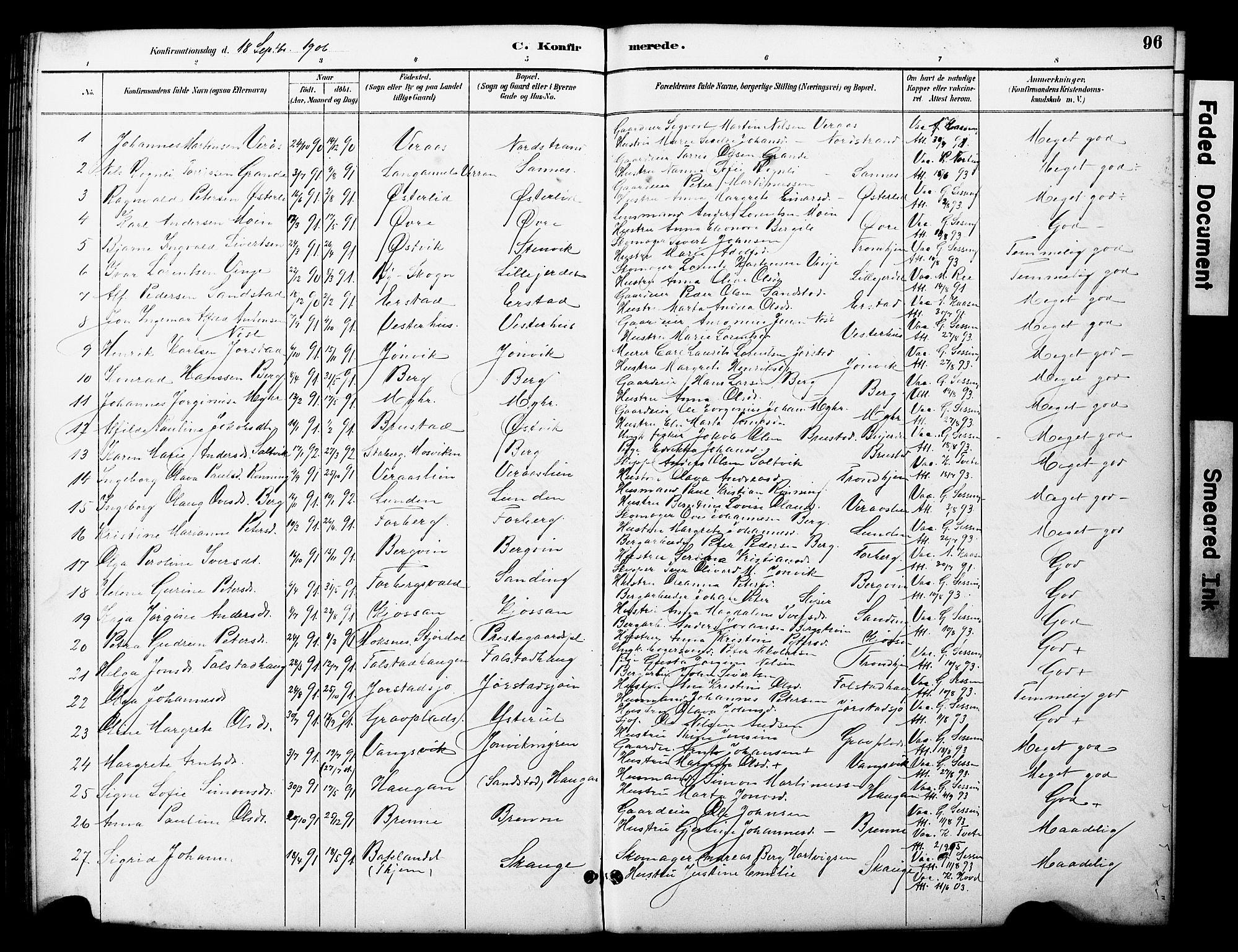 SAT, Ministerialprotokoller, klokkerbøker og fødselsregistre - Nord-Trøndelag, 722/L0226: Klokkerbok nr. 722C02, 1889-1927, s. 96