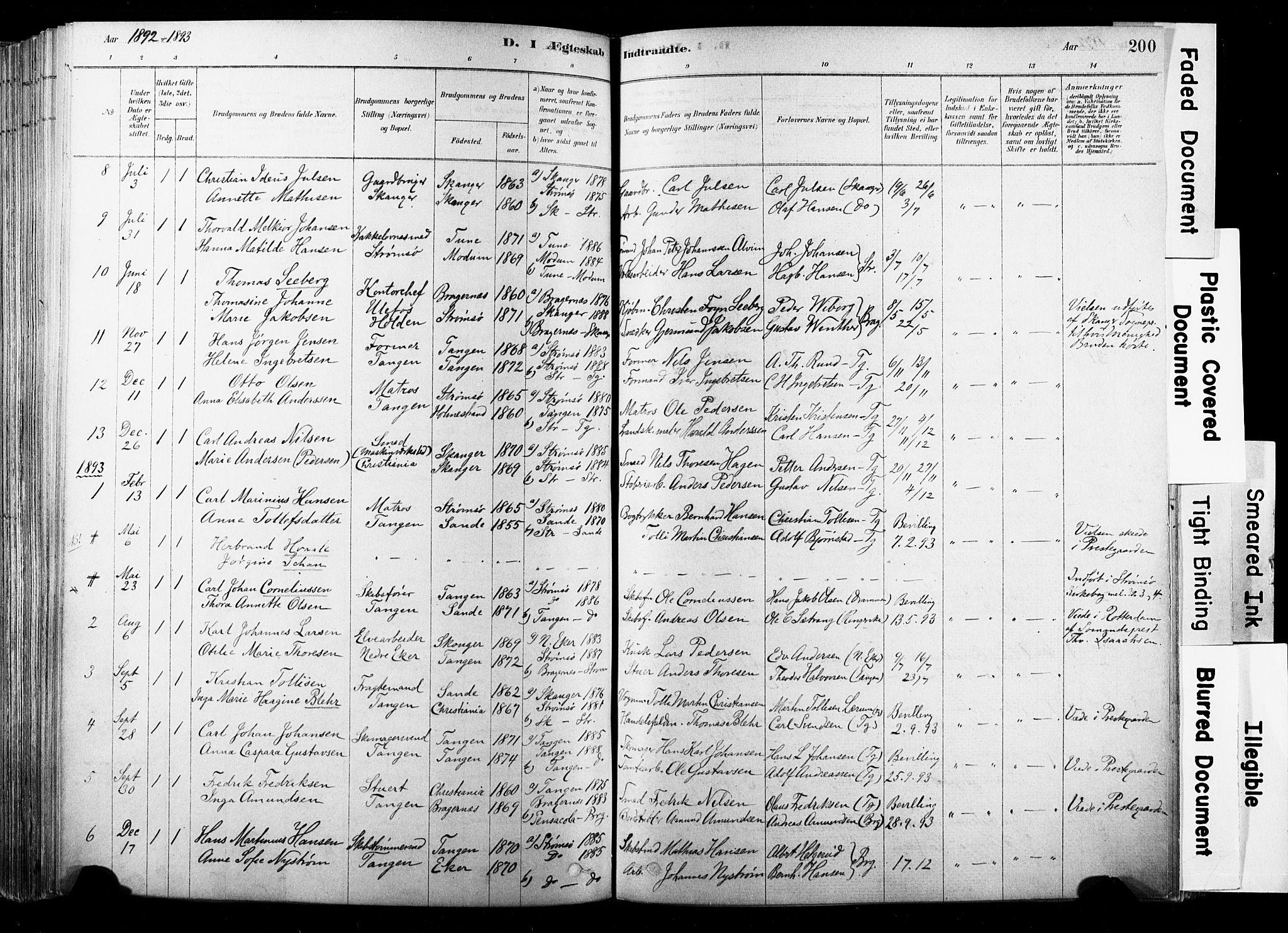 SAKO, Strømsø kirkebøker, F/Fb/L0006: Ministerialbok nr. II 6, 1879-1910, s. 200