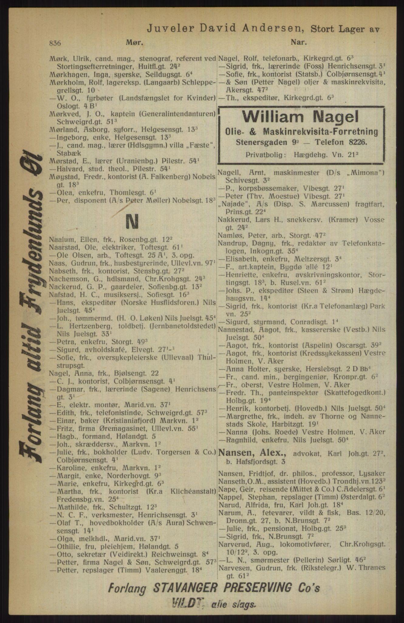 RA, Kristiania adressebok (publikasjon)*, 1914, s. 836