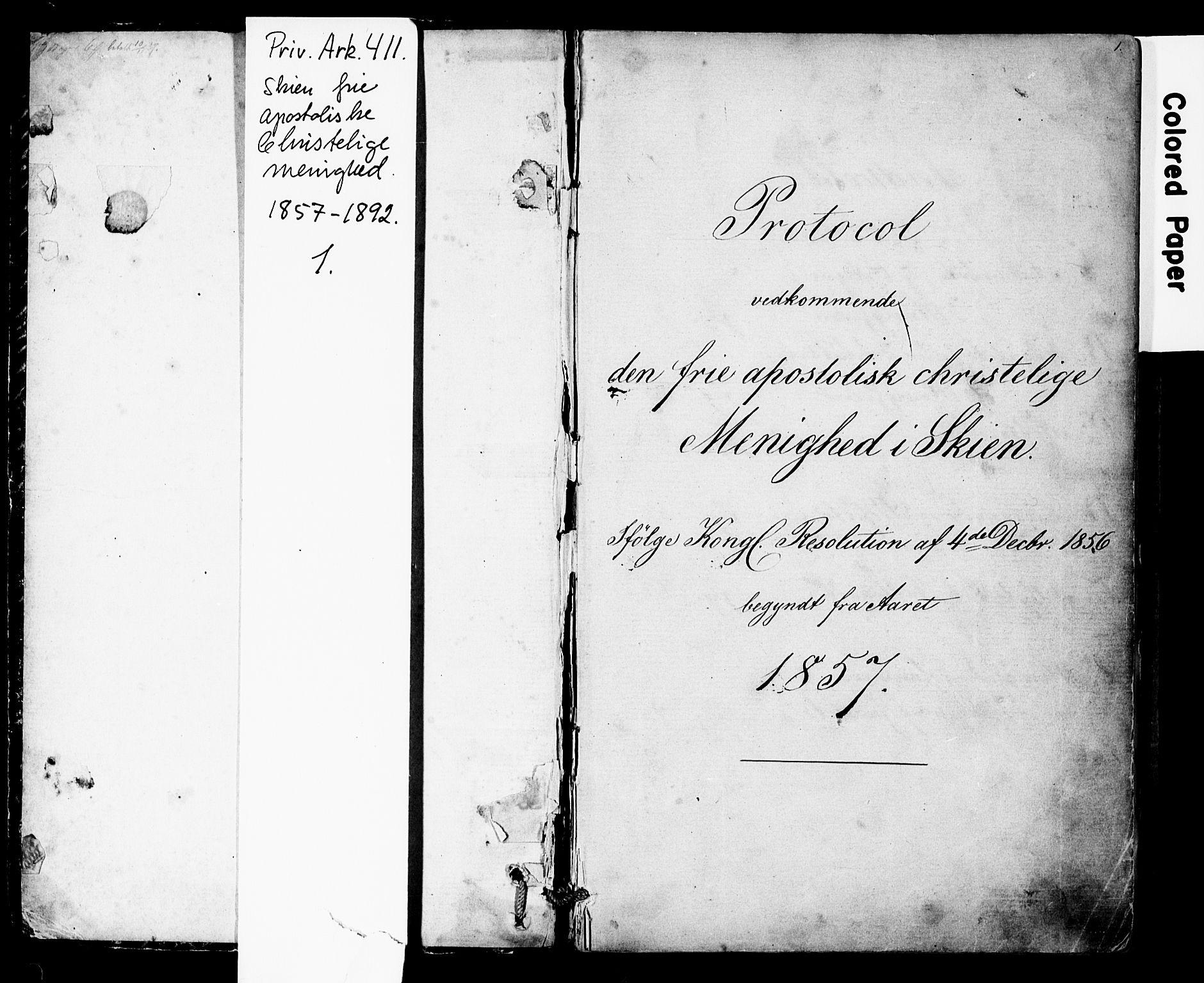 SAKO, Den frie apostolisk-kristelige menighet i Skien, F/Fa/L0001: Dissenterprotokoll nr. 1, 1856-1892, s. 1
