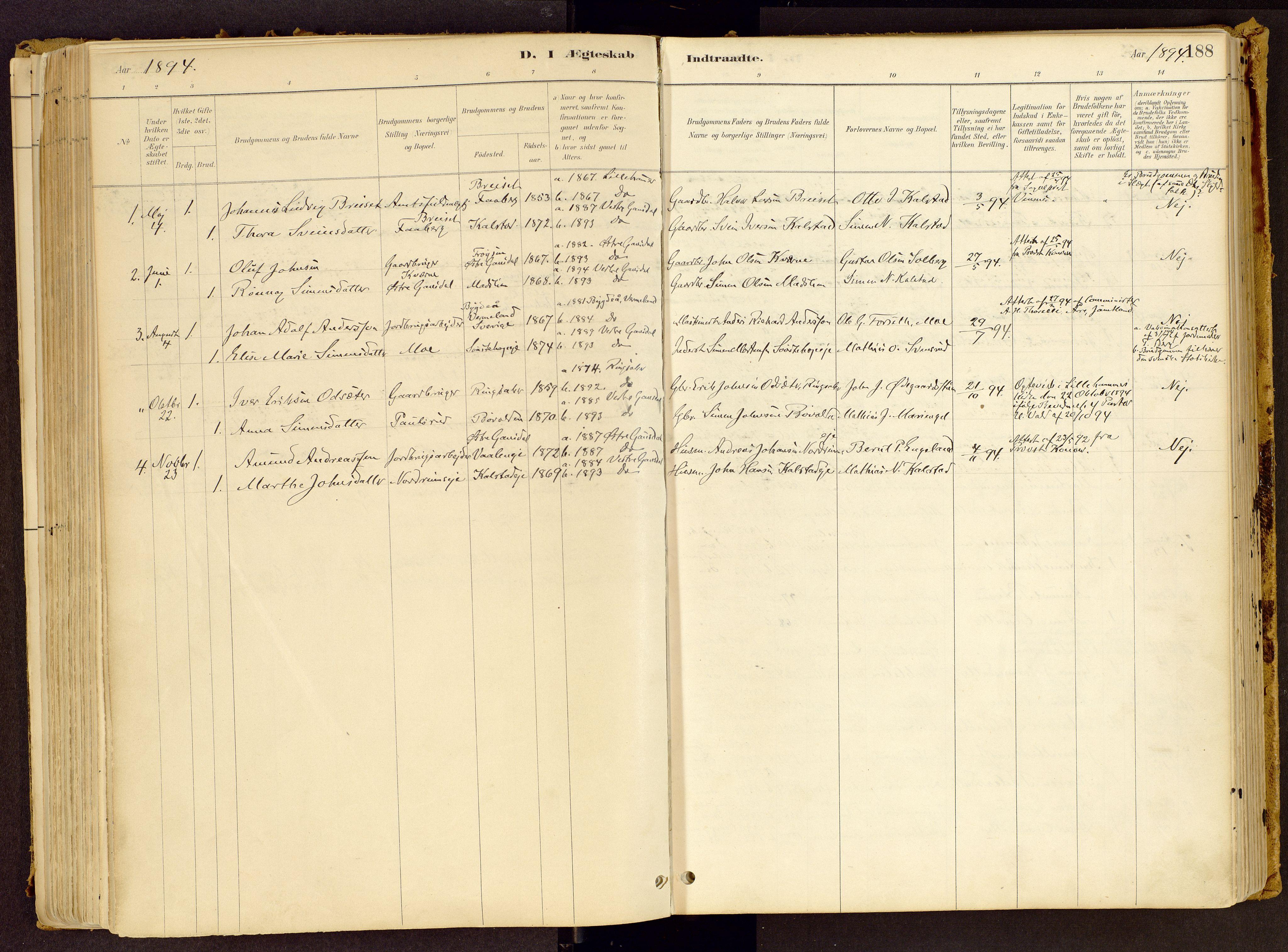 SAH, Vestre Gausdal prestekontor, Ministerialbok nr. 1, 1887-1914, s. 188