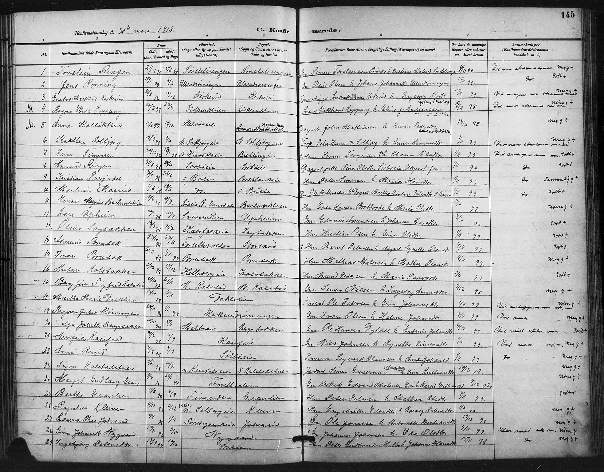 SAH, Vestre Gausdal prestekontor, Klokkerbok nr. 3, 1896-1925, s. 145
