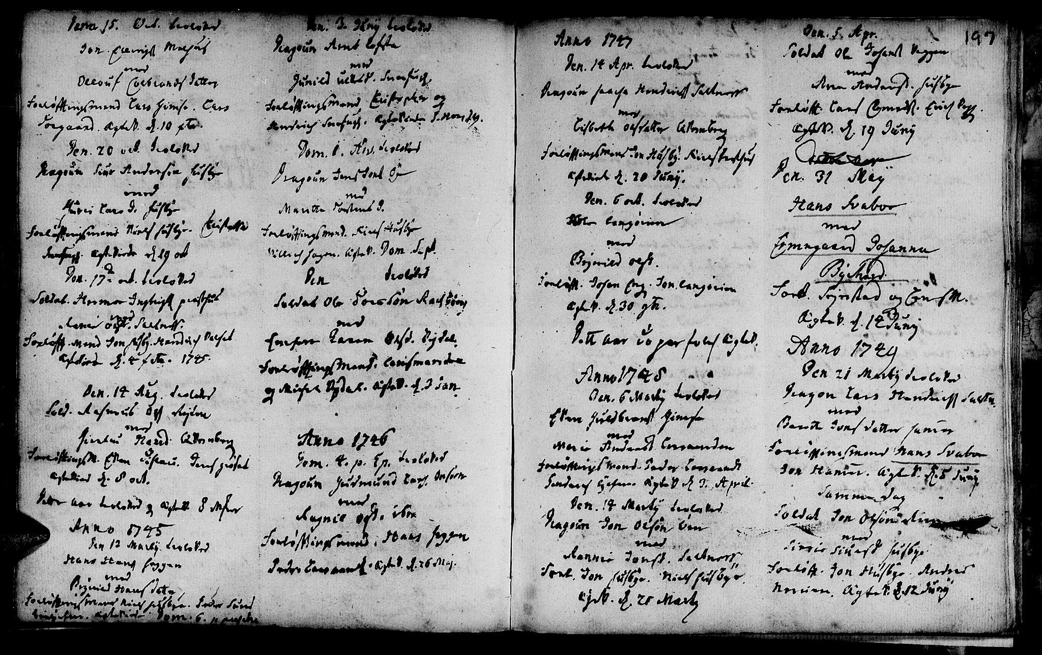 SAT, Ministerialprotokoller, klokkerbøker og fødselsregistre - Sør-Trøndelag, 666/L0783: Ministerialbok nr. 666A01, 1702-1753, s. 197