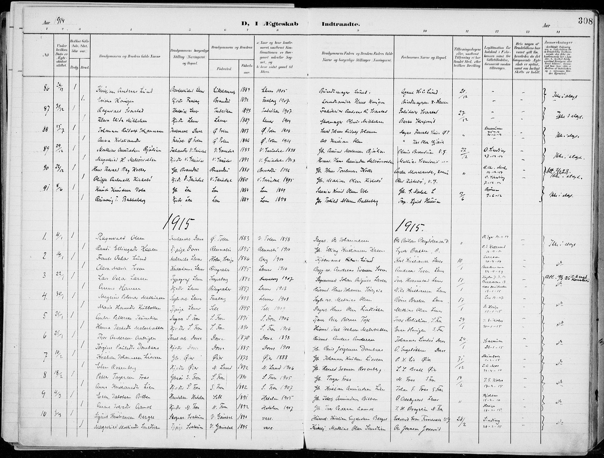 SAH, Lillehammer prestekontor, Ministerialbok nr. 1, 1901-1916, s. 308
