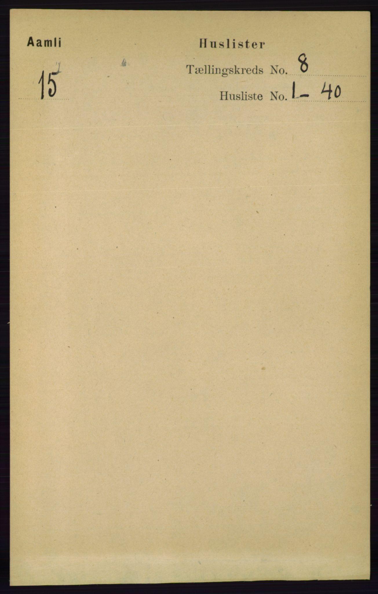 RA, Folketelling 1891 for 0929 Åmli herred, 1891, s. 1065