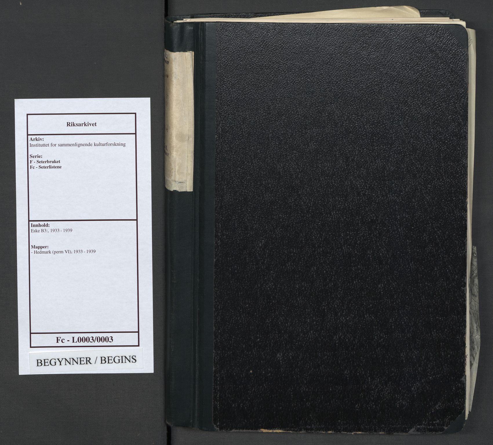 RA, Instituttet for sammenlignende kulturforskning, F/Fc/L0003: Eske B3:, 1933-1939, s. upaginert