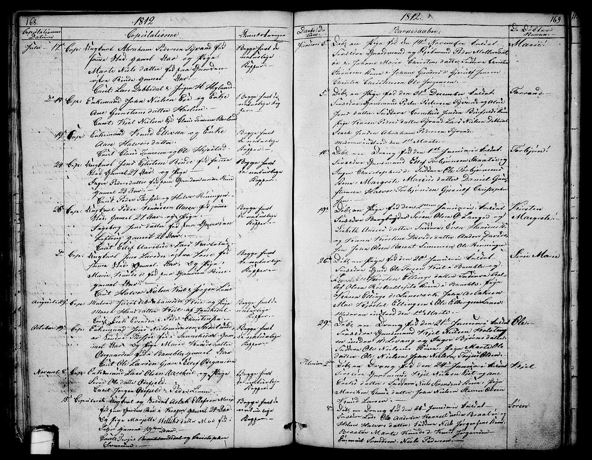 SAKO, Sannidal kirkebøker, F/Fa/L0003: Ministerialbok nr. 3, 1803-1813, s. 168-169