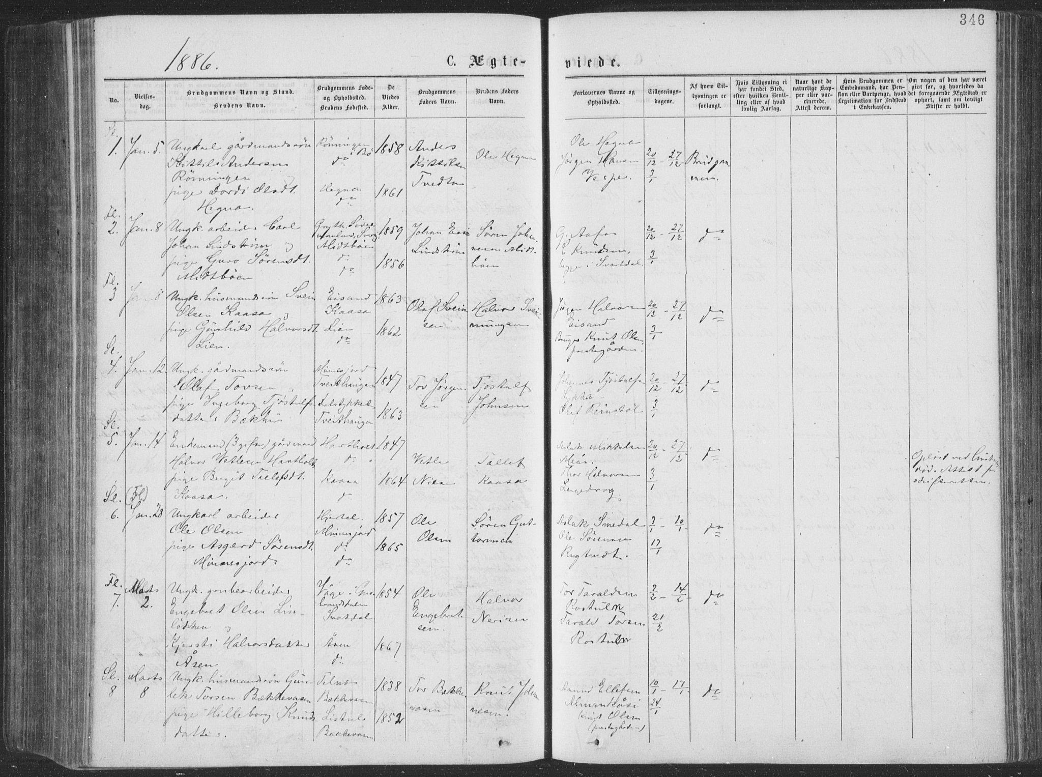SAKO, Seljord kirkebøker, F/Fa/L0014: Ministerialbok nr. I 14, 1877-1886, s. 346