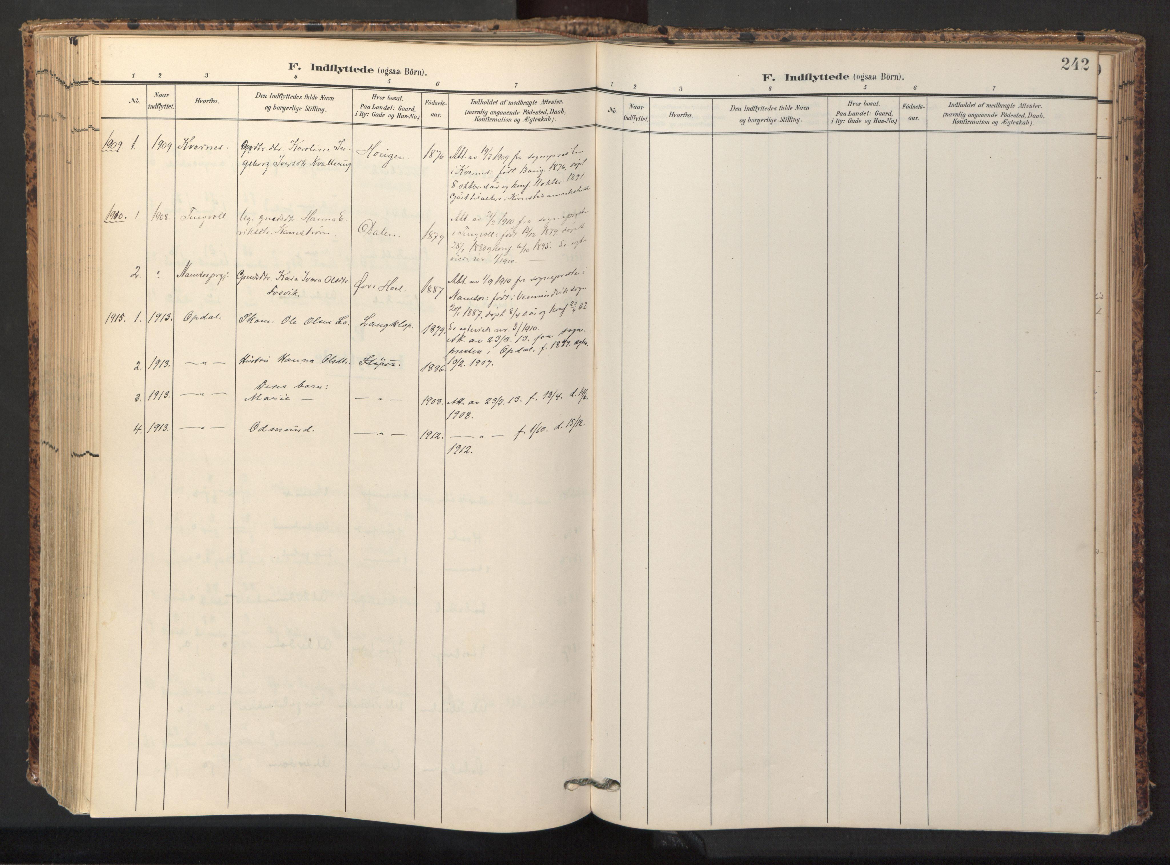 SAT, Ministerialprotokoller, klokkerbøker og fødselsregistre - Sør-Trøndelag, 674/L0873: Ministerialbok nr. 674A05, 1908-1923, s. 242