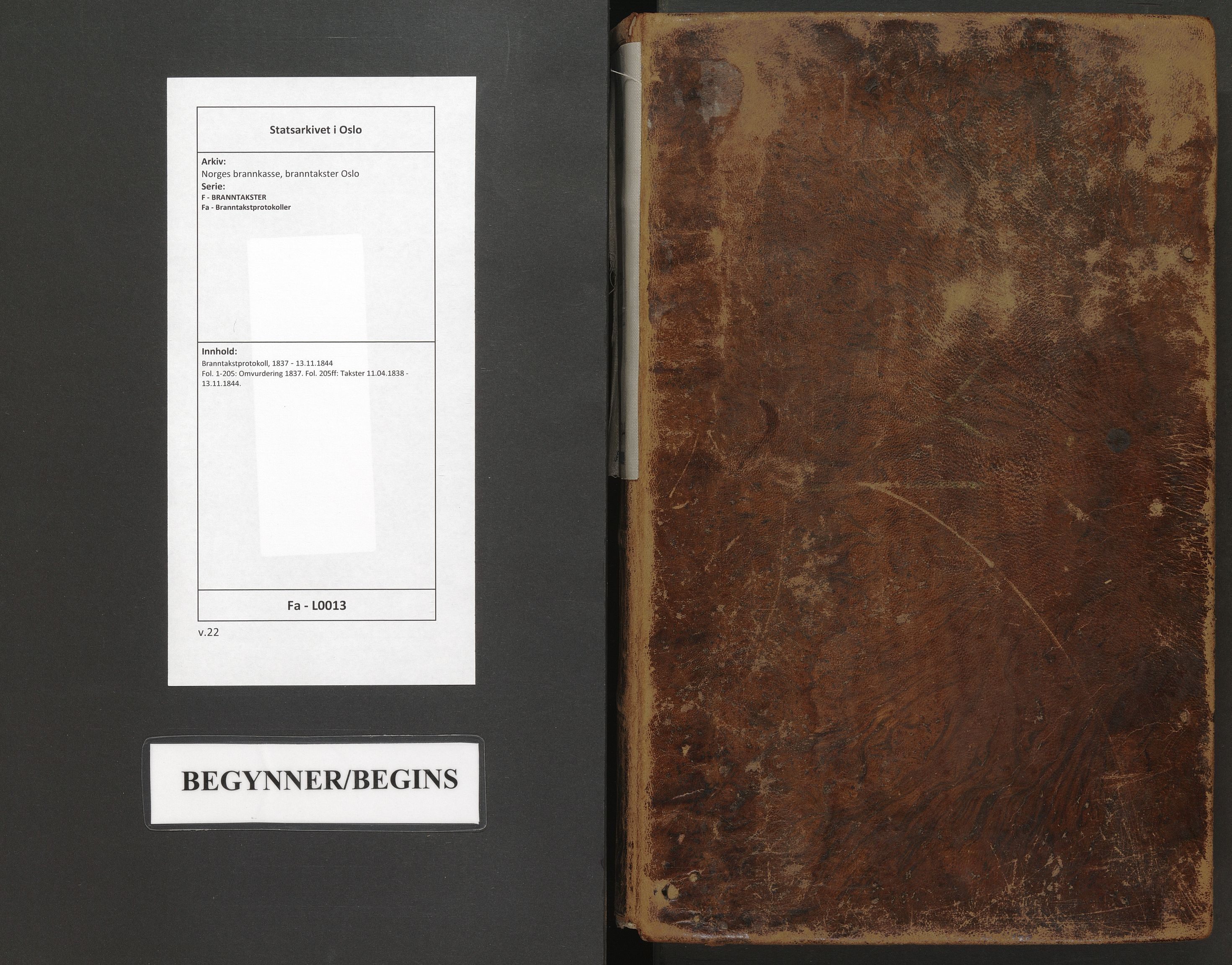SAO, Norges brannkasse, branntakster Oslo, F/Fa/L0013: Branntakstprotokoll, 1837-1844
