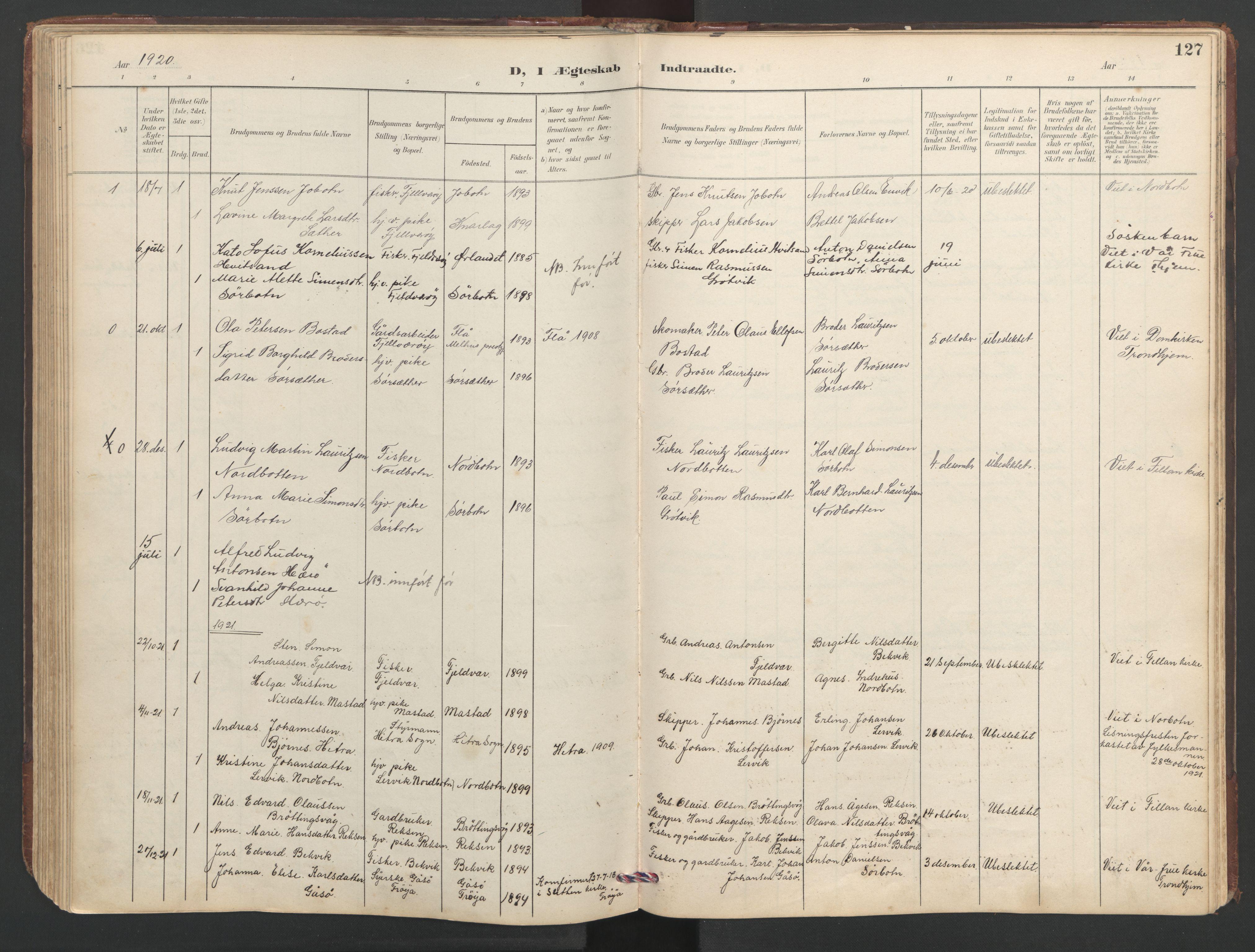 SAT, Ministerialprotokoller, klokkerbøker og fødselsregistre - Sør-Trøndelag, 638/L0571: Klokkerbok nr. 638C03, 1901-1930, s. 127