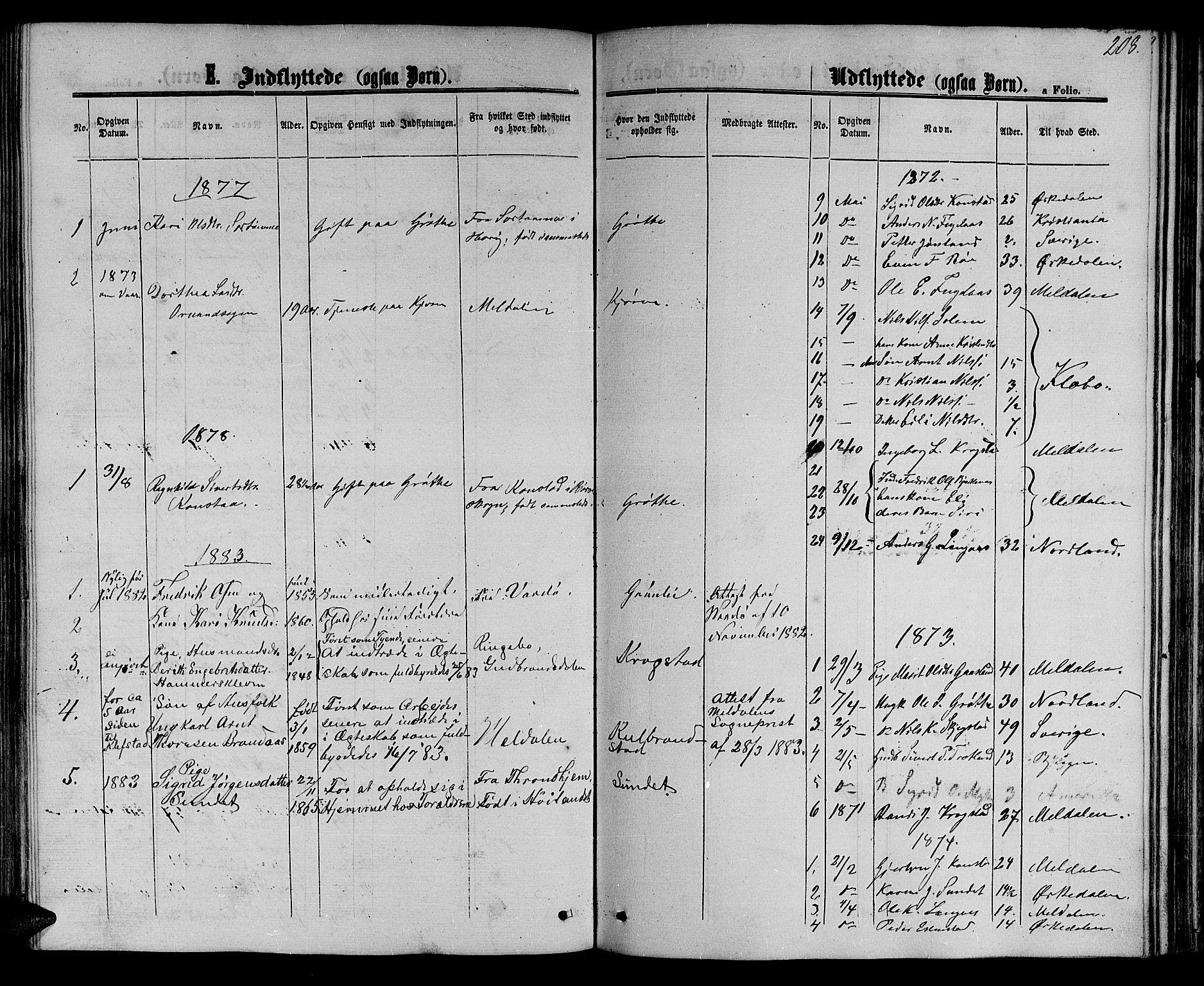 SAT, Ministerialprotokoller, klokkerbøker og fødselsregistre - Sør-Trøndelag, 694/L1131: Klokkerbok nr. 694C03, 1858-1886, s. 208